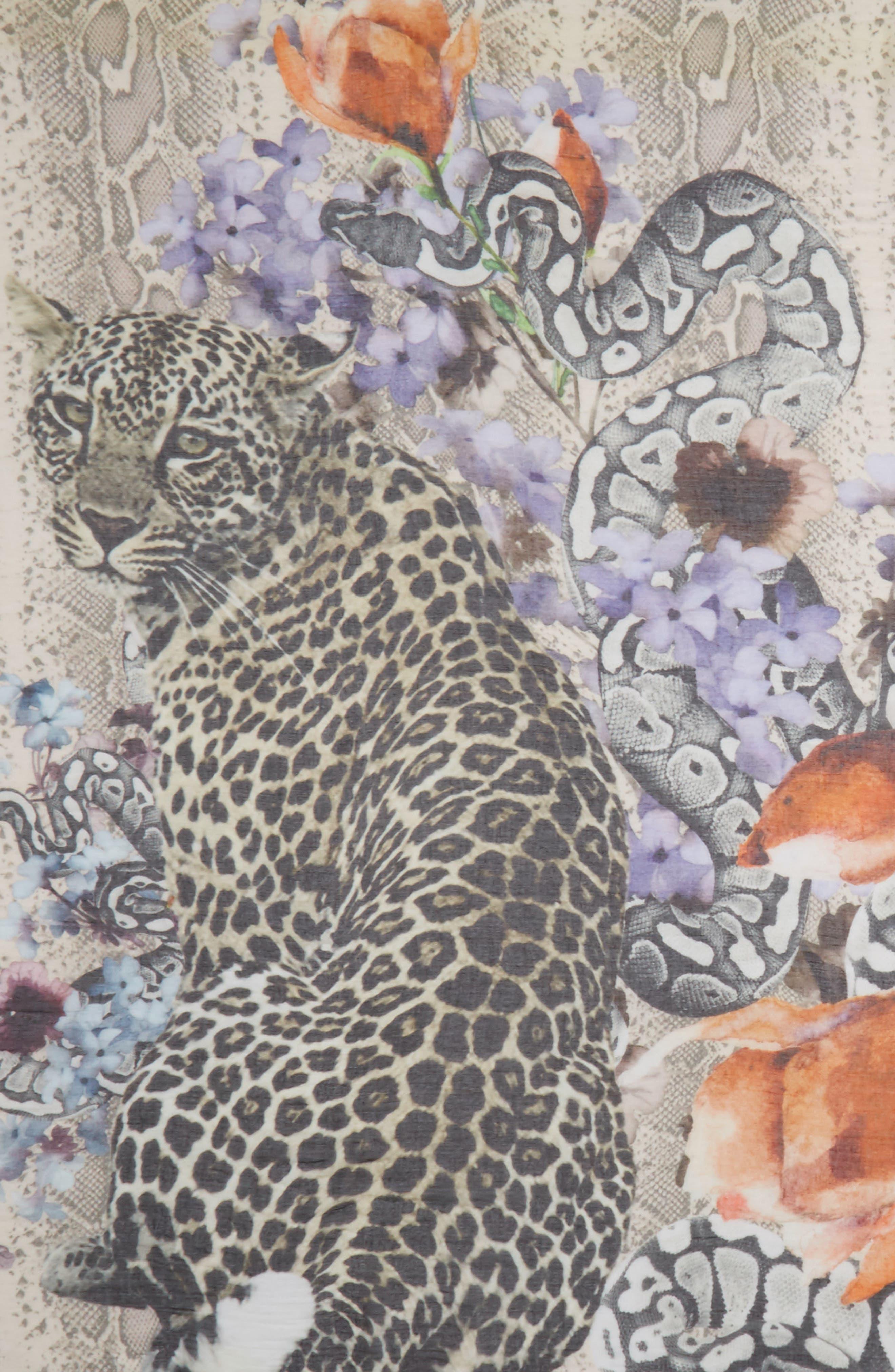 Alternate Image 3  - Yigal Azrouël Floral Cheetah Modal & Cashmere Scarf