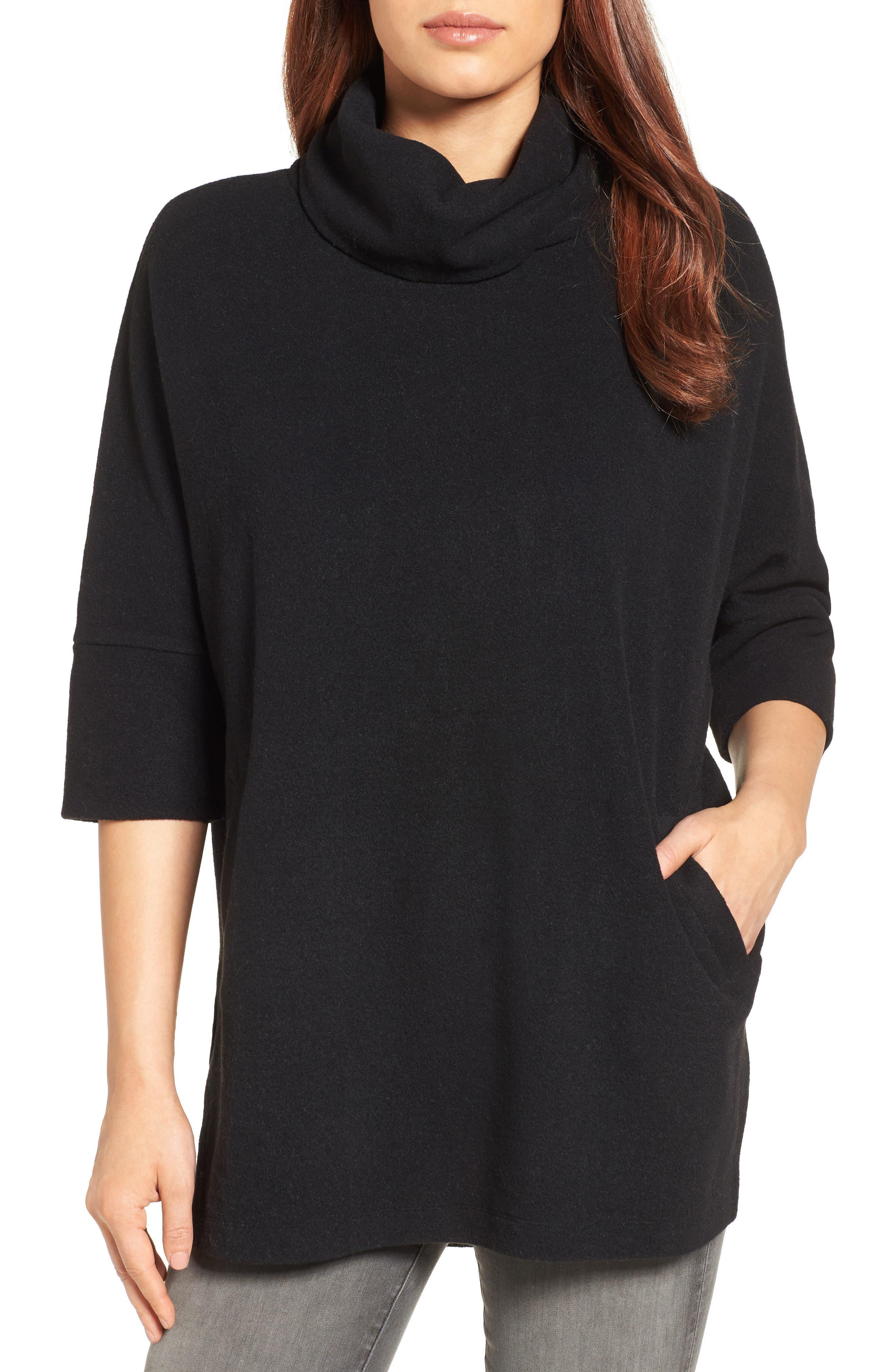 Caslon® Zip Back Pullover (Regular & Petite)