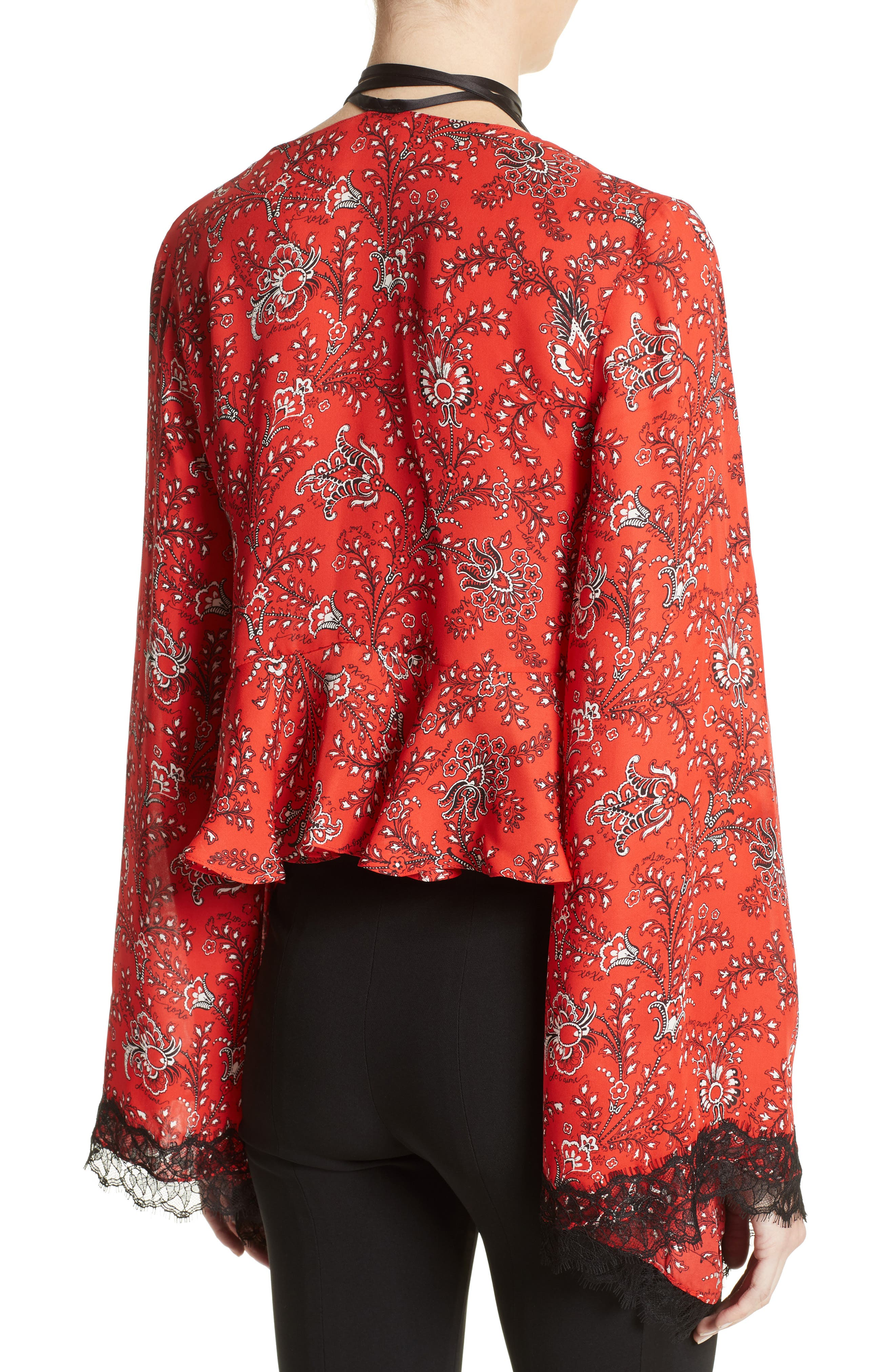 Jemma Print Silk Top,                             Alternate thumbnail 3, color,                             Vermillion Multi