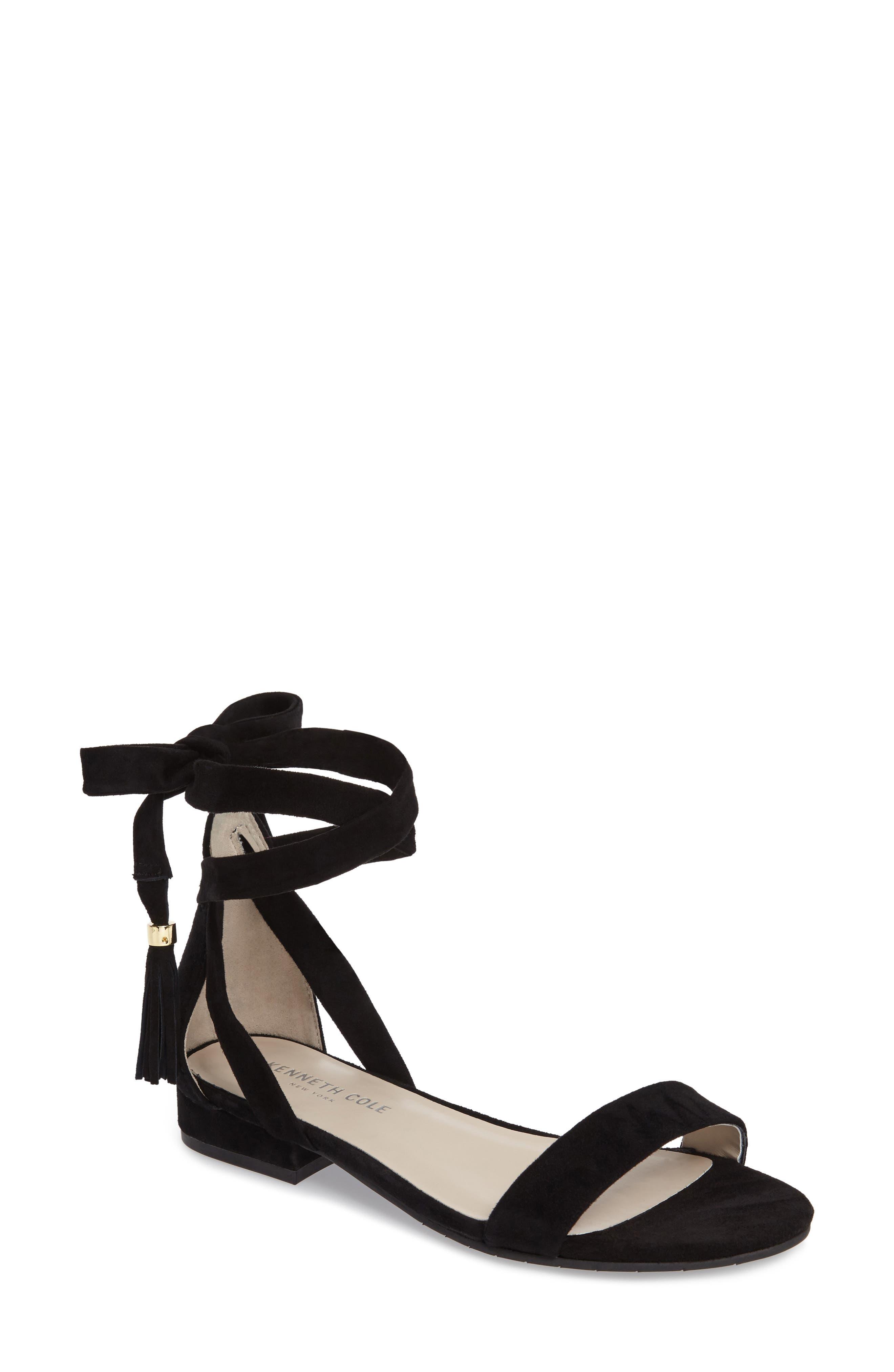 Valen Tassel Lace-Up Sandal,                         Main,                         color, Black Suede