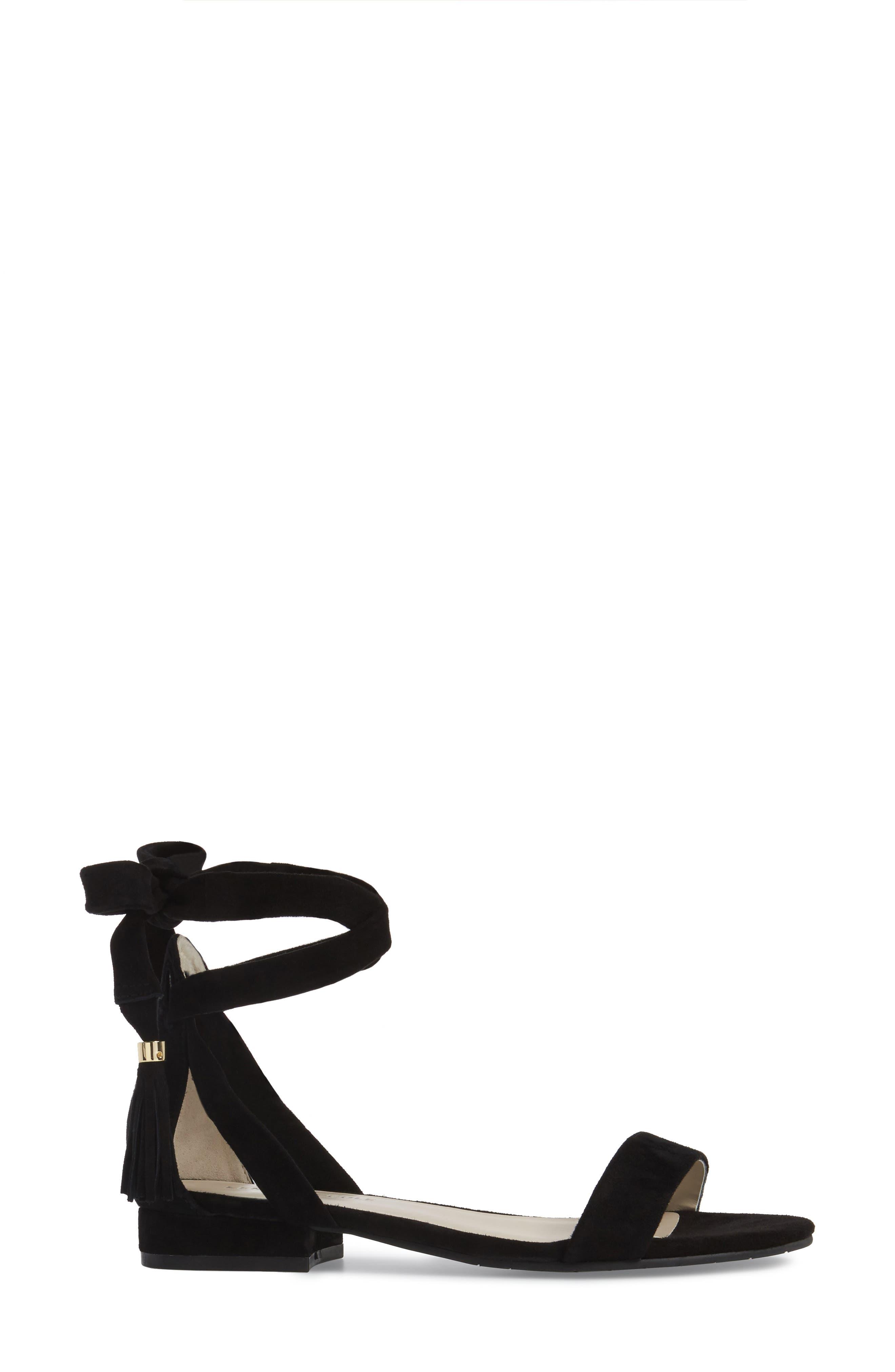 Valen Tassel Lace-Up Sandal,                             Alternate thumbnail 3, color,                             Black Suede