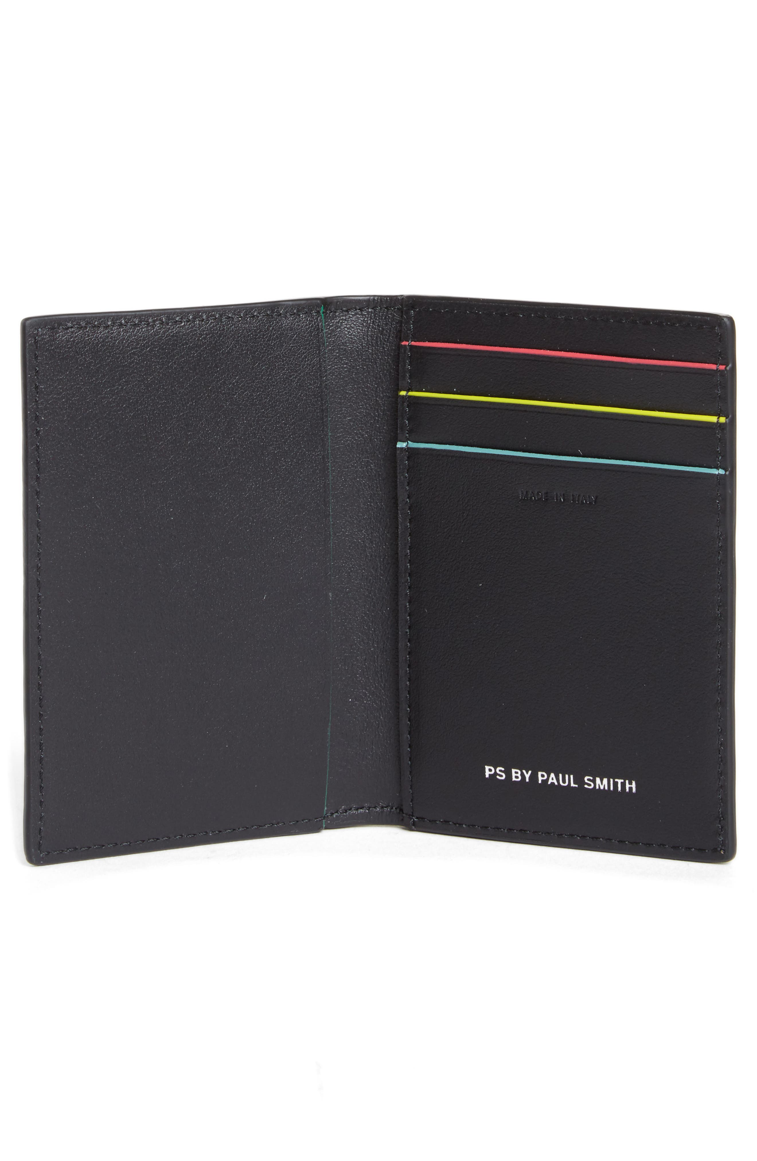 Color Accent Leather Wallet,                             Alternate thumbnail 2, color,                             Black