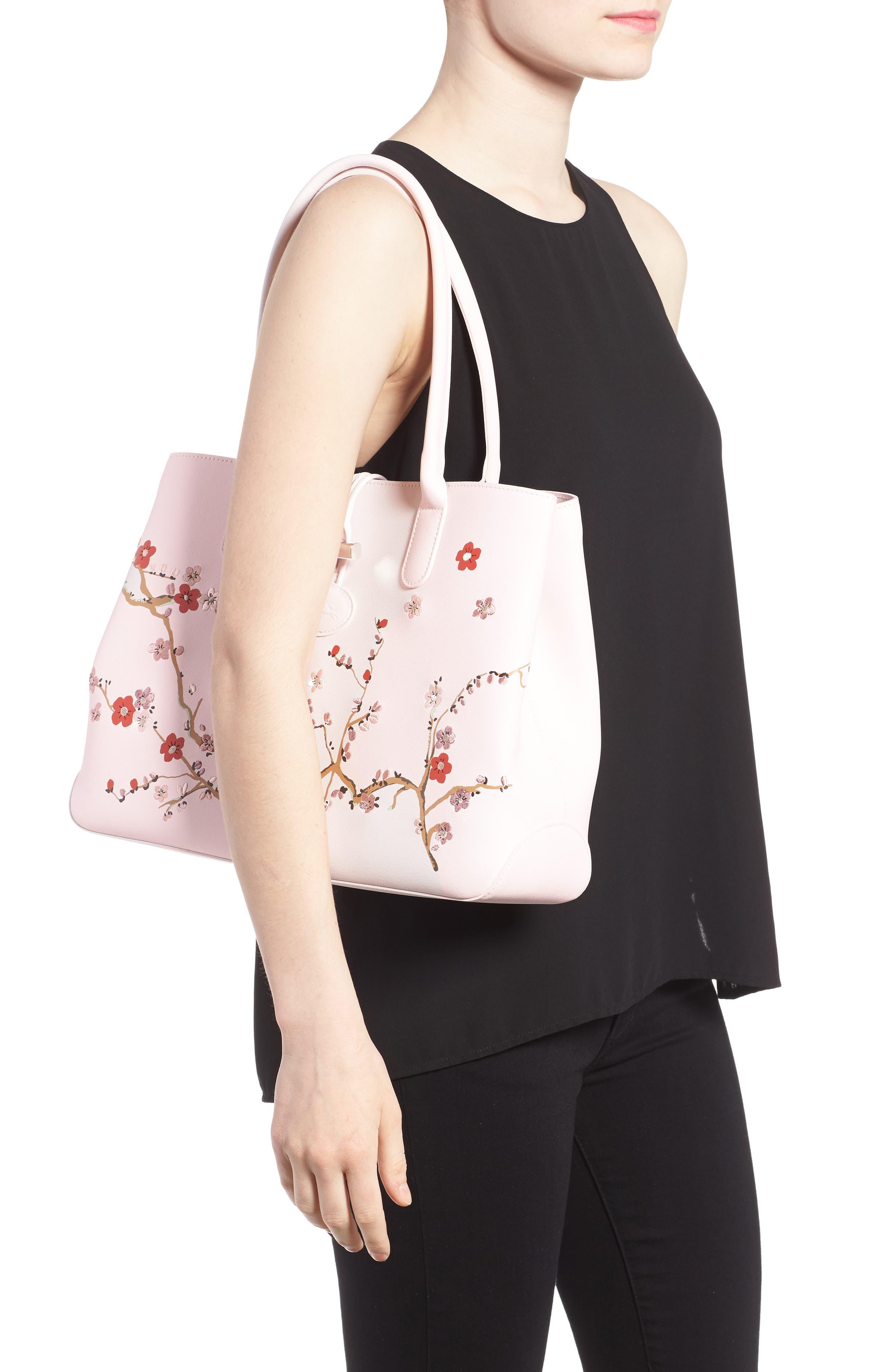 Alternate Image 2  - Longchamp Roseau Sakura Embroidered Leather Shoulder Tote