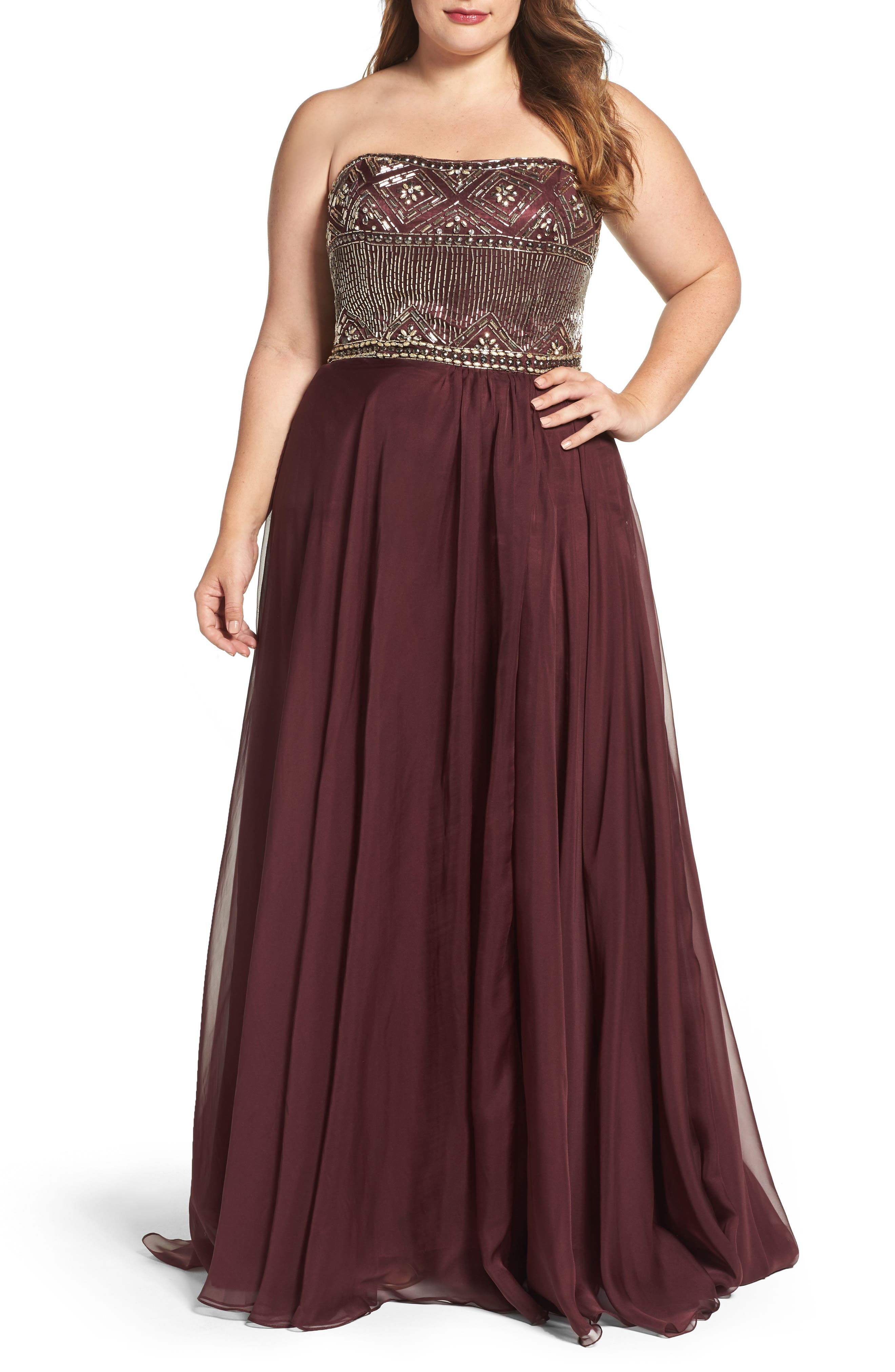 Beaded Bodice Strapless Chiffon Gown,                         Main,                         color, Burgundy
