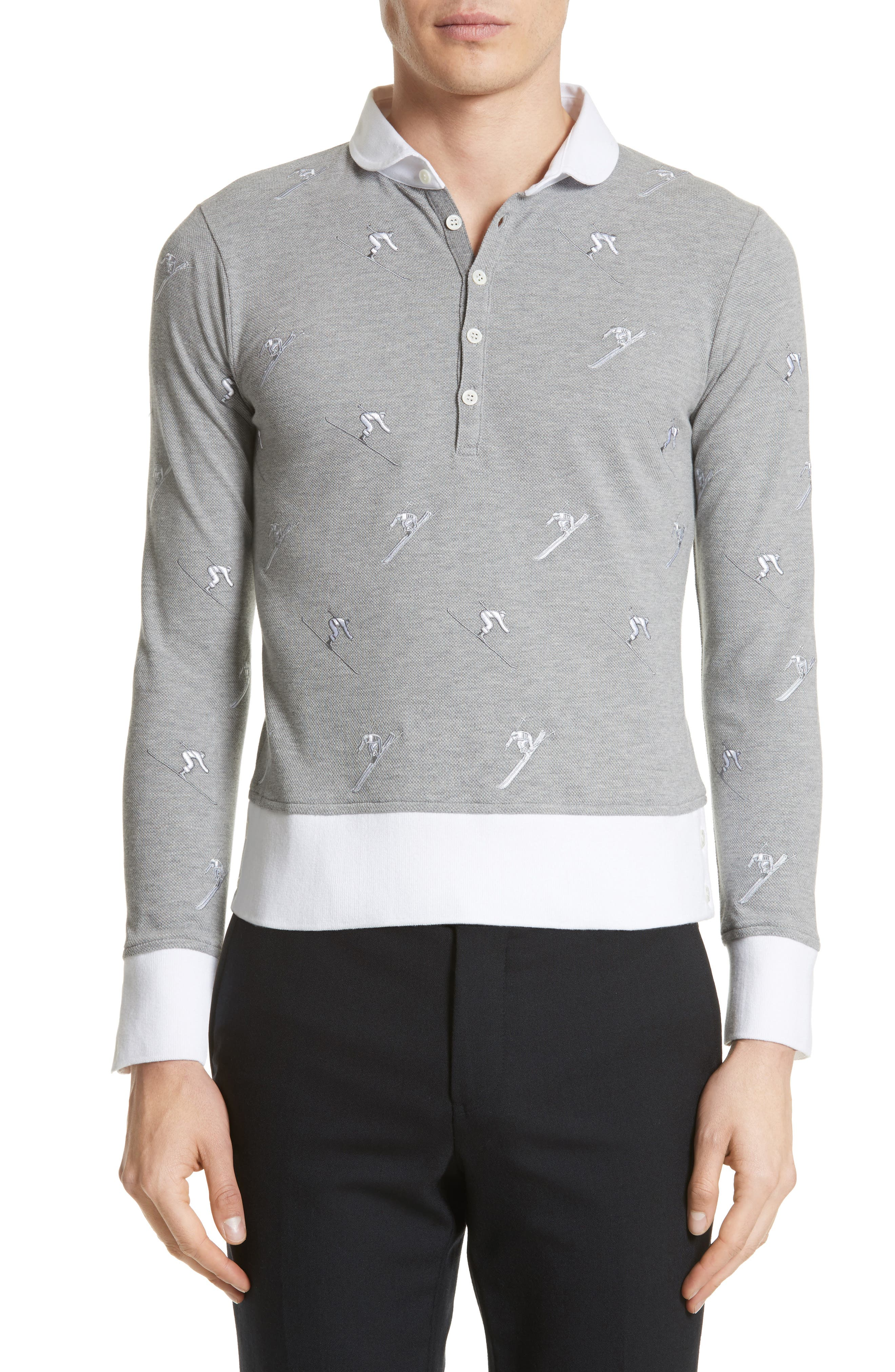 Main Image - Thom Browne Allover Embroidery Piqué Polo