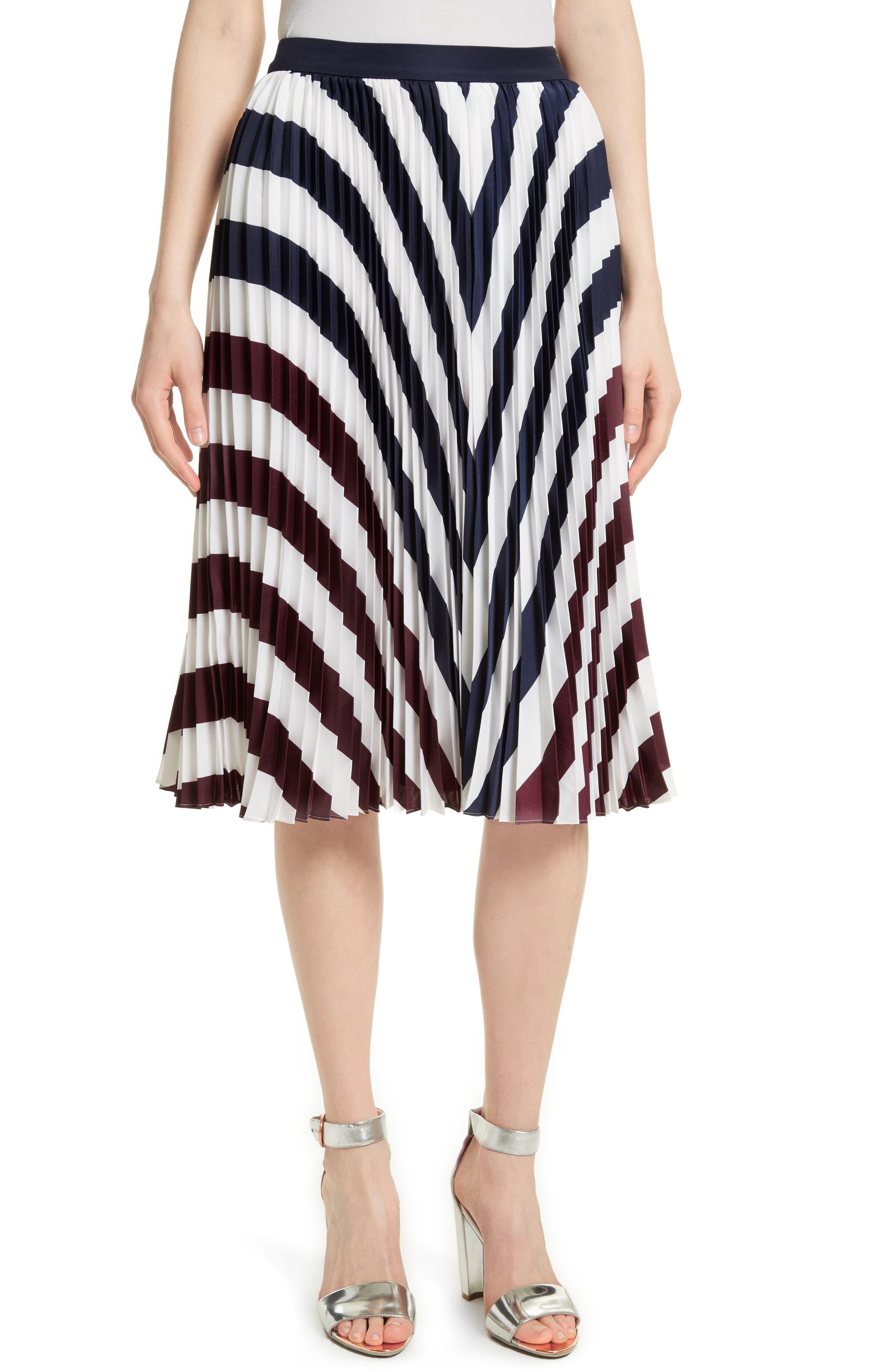 Ted Baker London Alliee Rowing Stripe Pleat Skirt