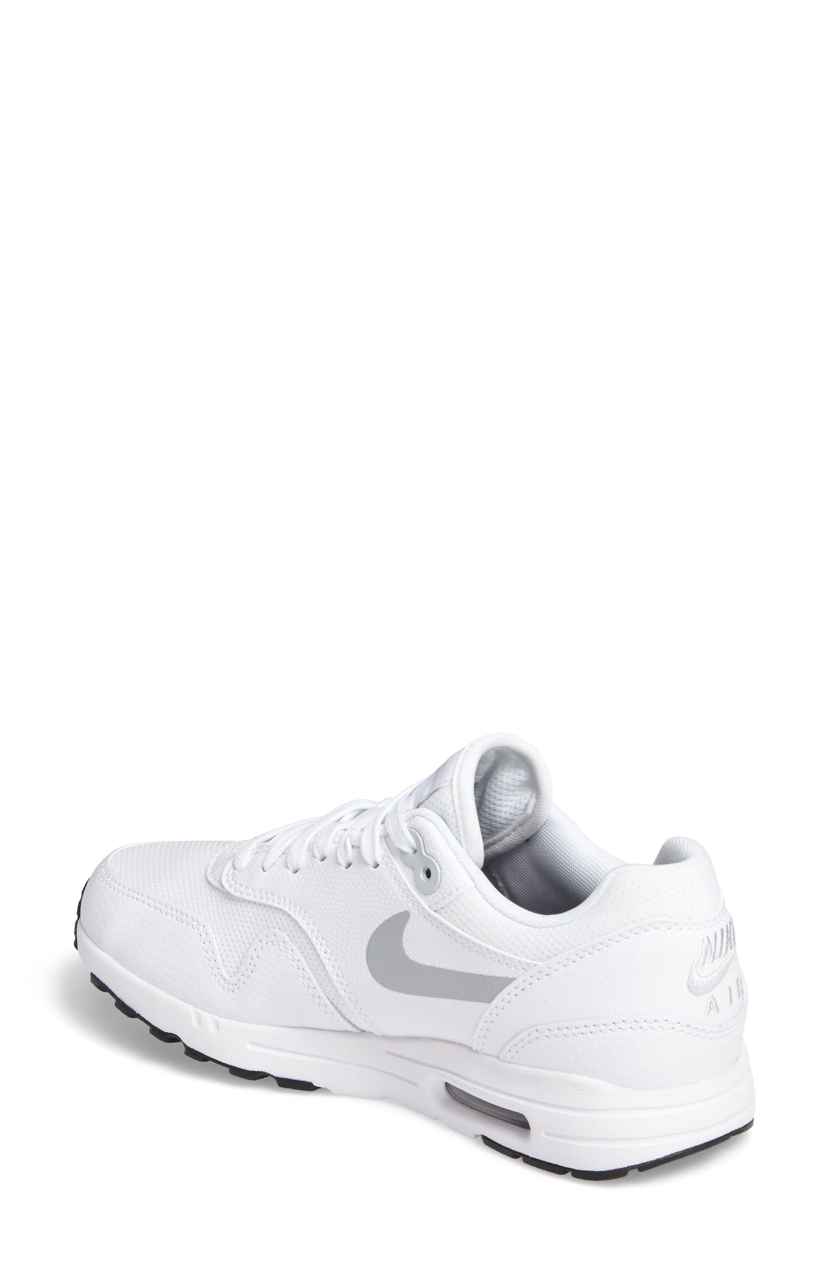 Air Max 1 Ultra 2.0 Running Shoe,                             Alternate thumbnail 2, color,                             White/ Platinum/ Black/ White