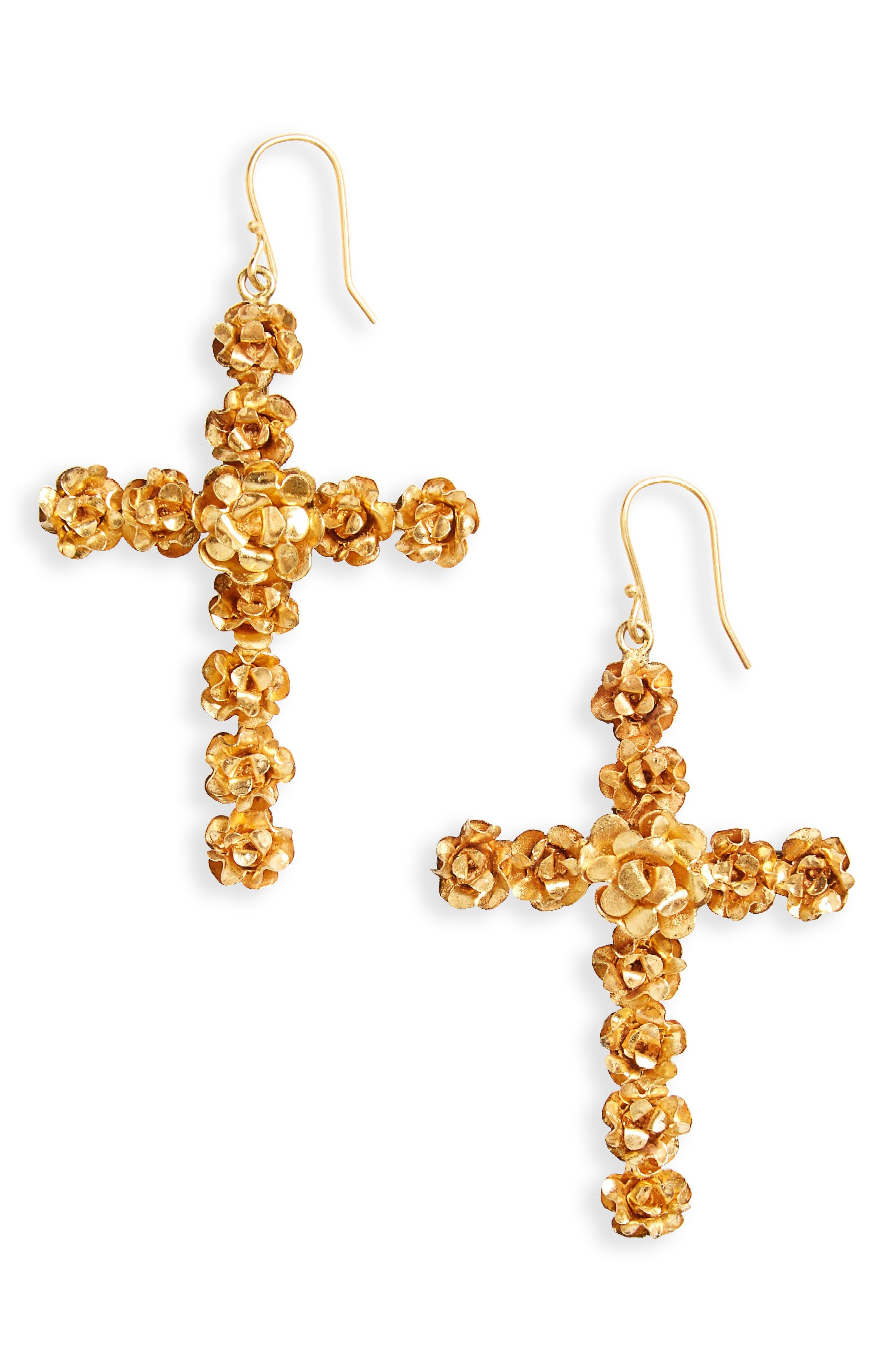 Virgins Saints & Angels Rose Cross Drop Earrings