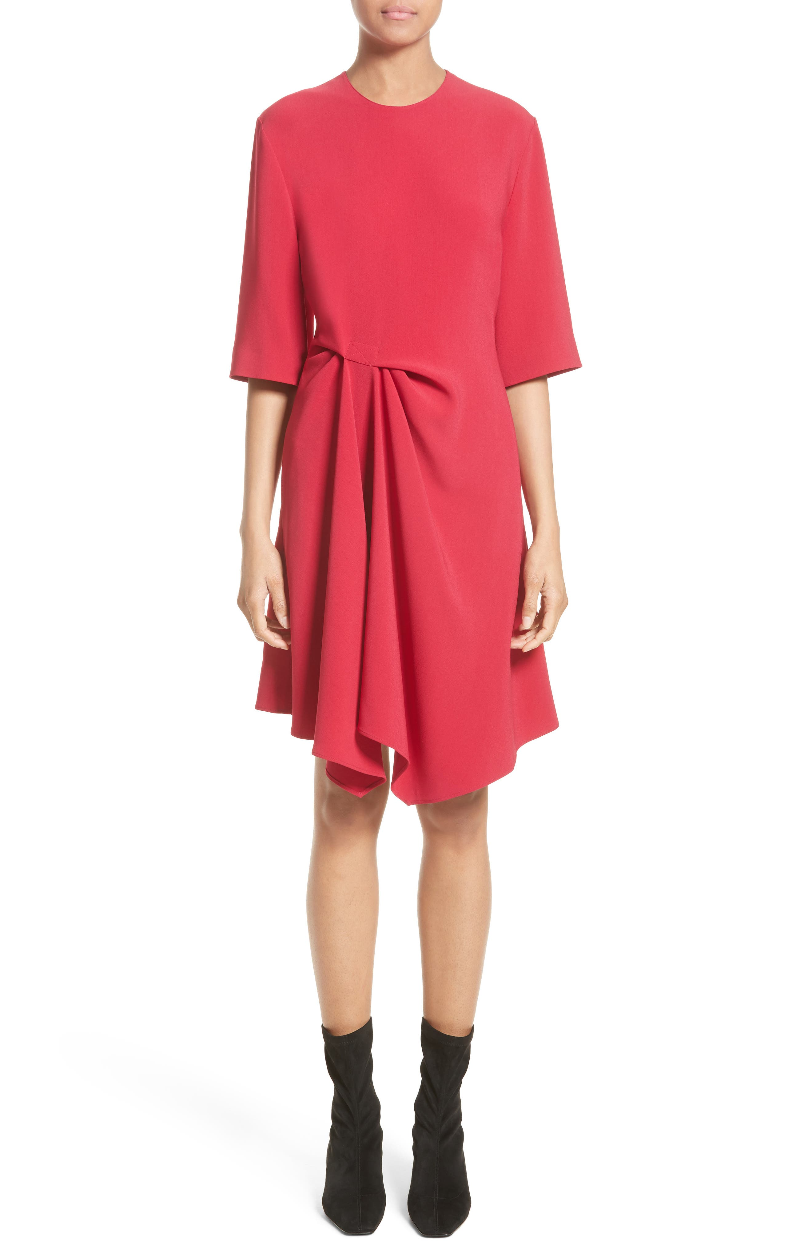 Draped Stretch Cady Dress,                         Main,                         color, Hot Pink