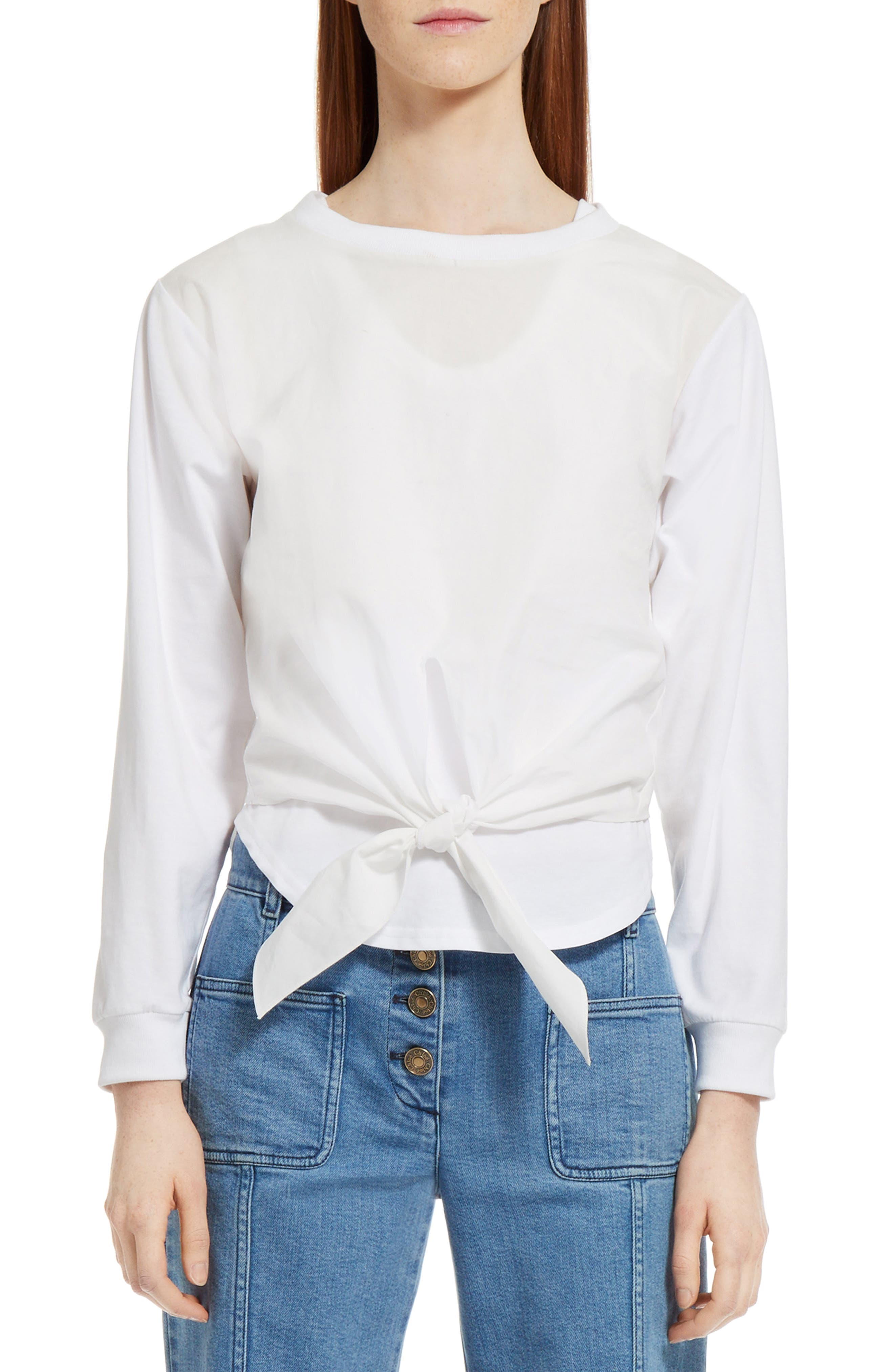 Layered Tie Front Top,                         Main,                         color, White
