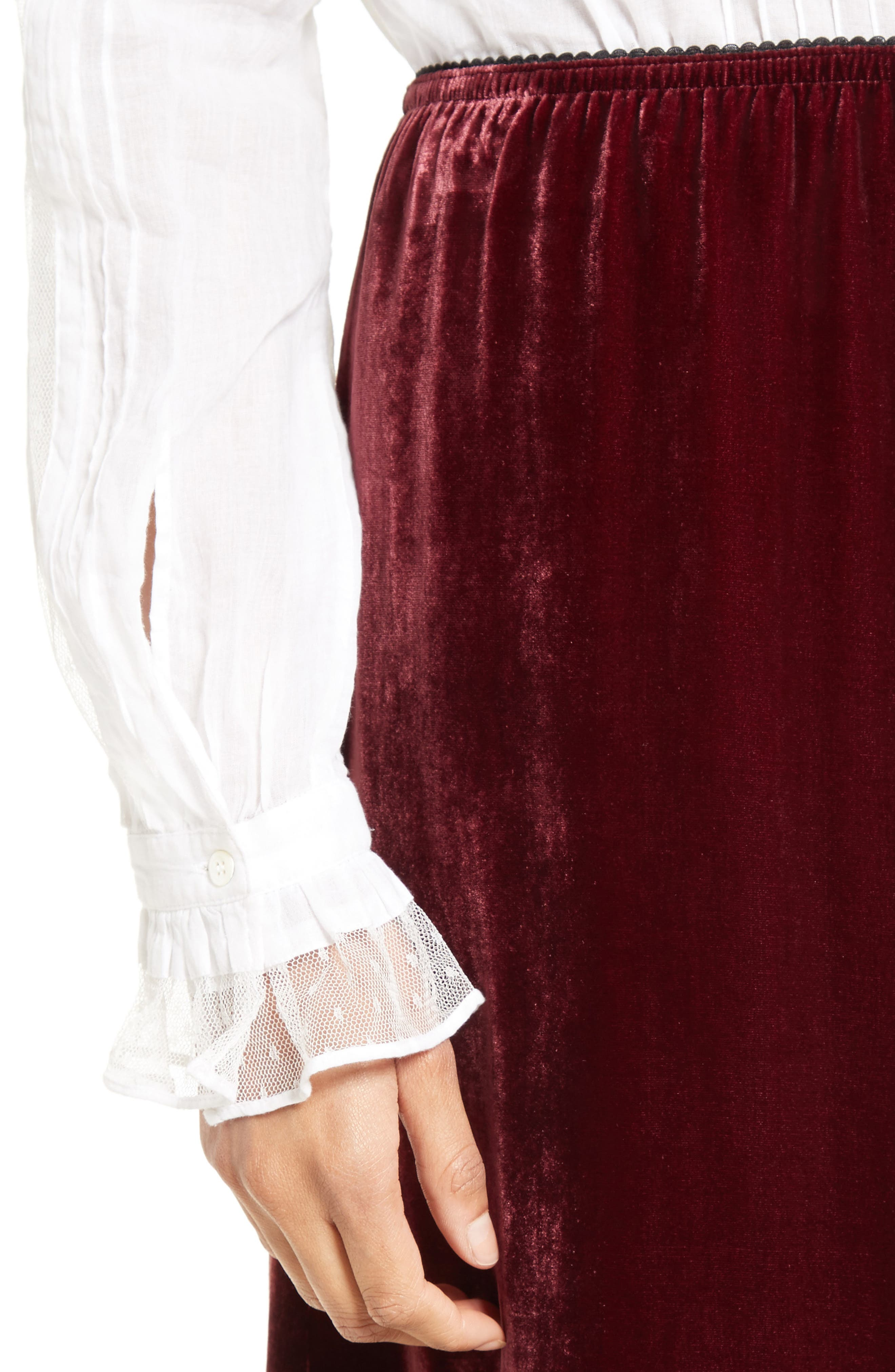 Velvet Midi Skirt,                             Alternate thumbnail 5, color,                             Wine
