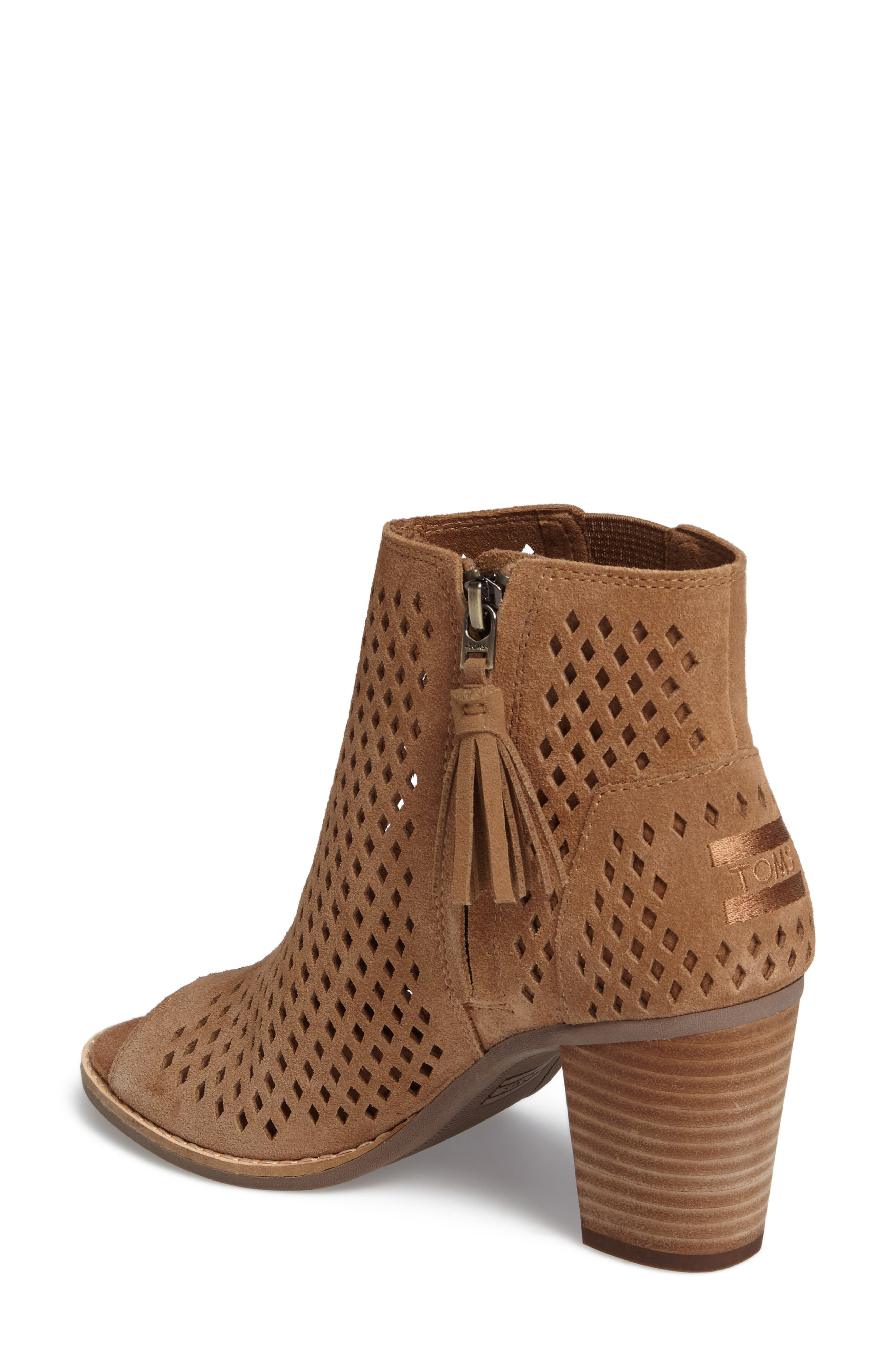 Majorca Peep Toe Bootie,                             Alternate thumbnail 3, color,                             Toffee Suede