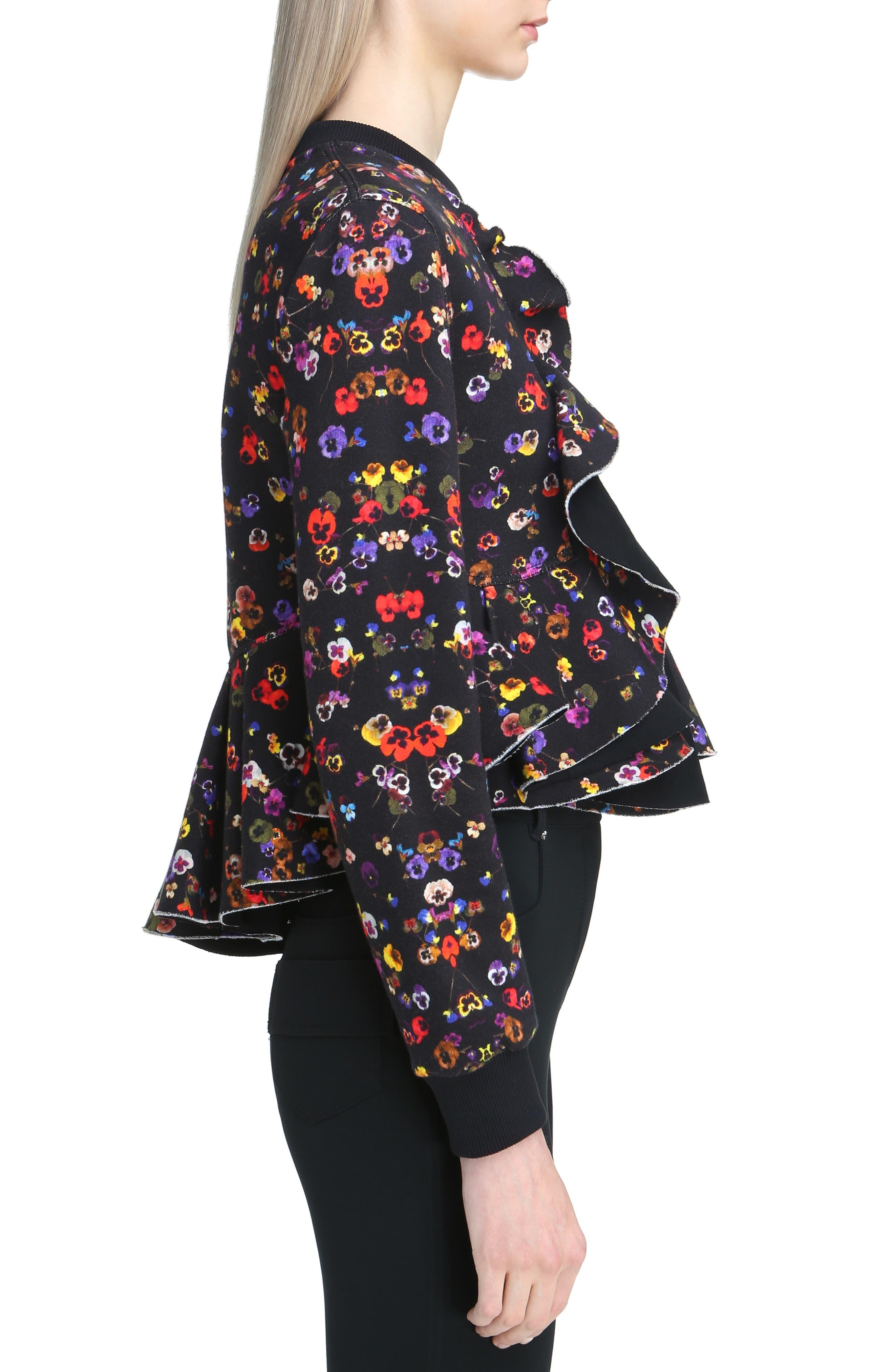 Alternate Image 3  - Givenchy Floral Print Ruffle Bonded Sweatshirt