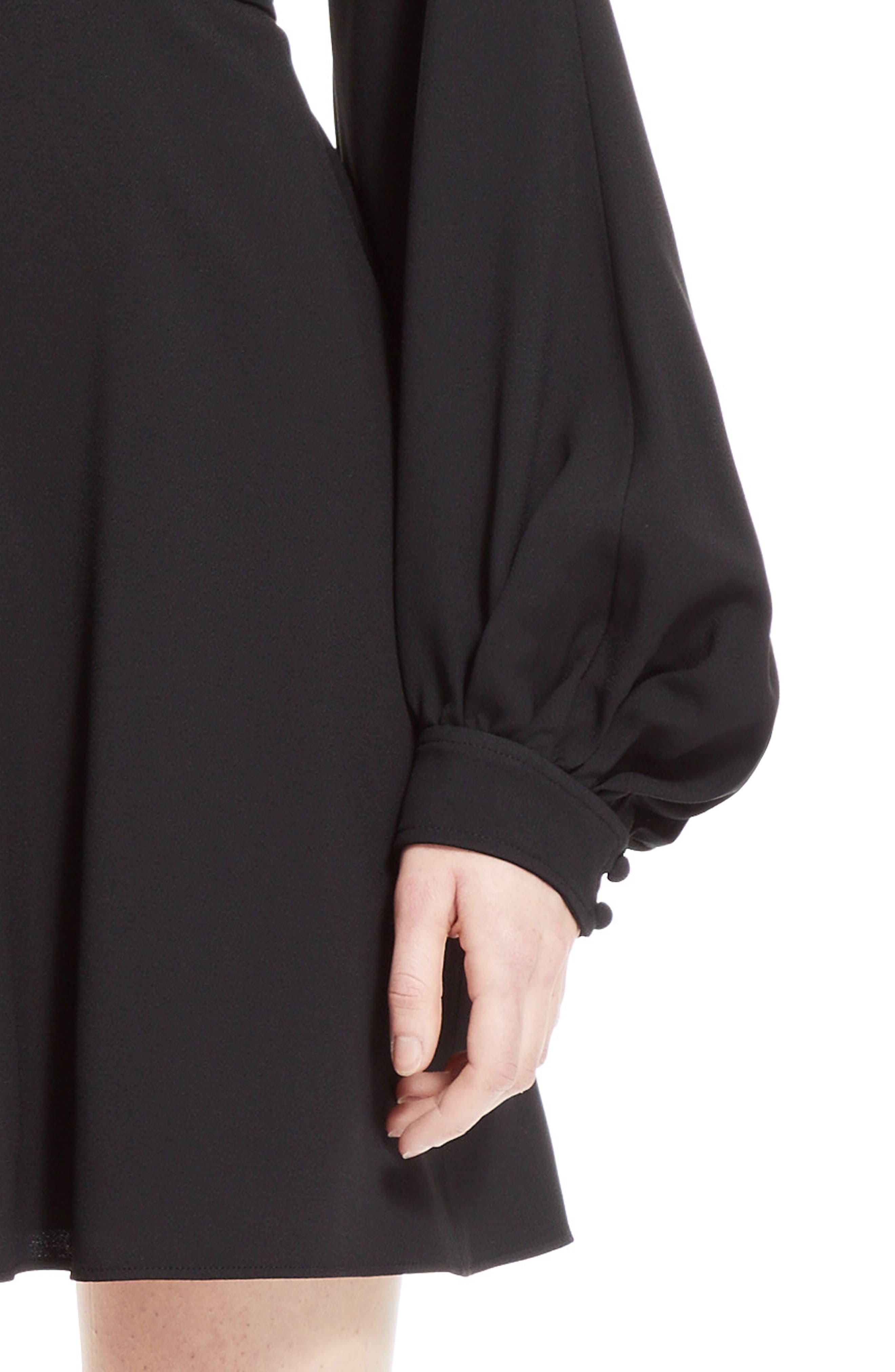 Cady Bell Sleeve Dress,                             Alternate thumbnail 5, color,                             Black