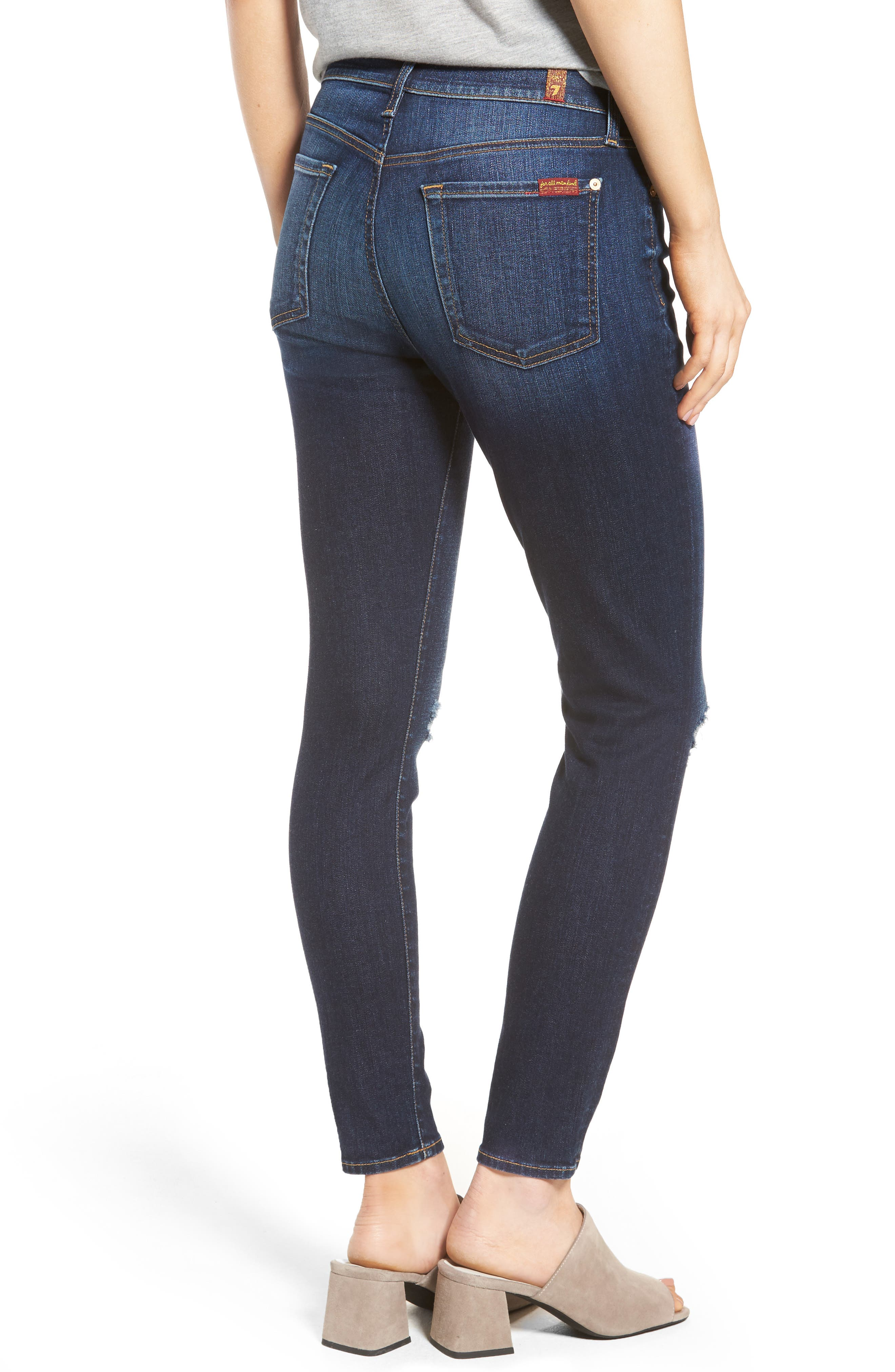 Alternate Image 2  - 7 For All Mankind® Ankle Skinny Jeans (Dark Paradise)