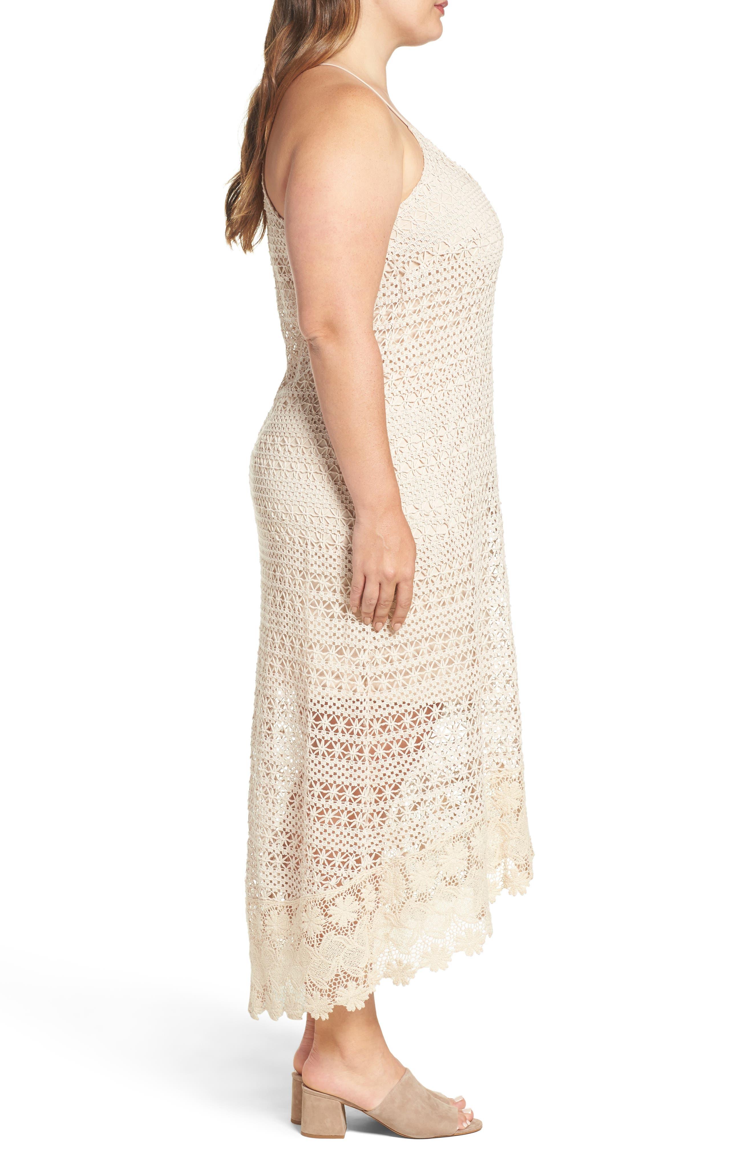 Crochet Maxi Dress,                             Alternate thumbnail 3, color,                             Ecru