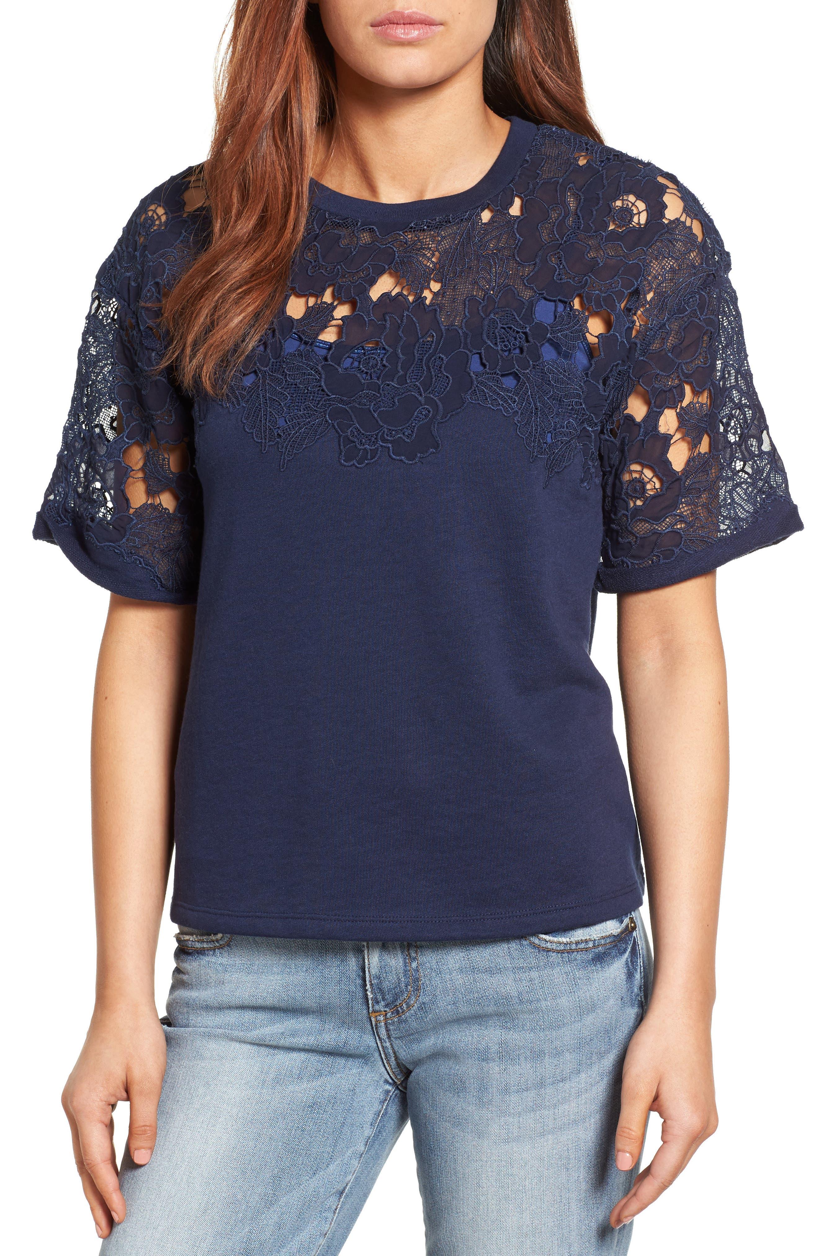 Main Image - Halogen® Lace Detail Sweatshirt