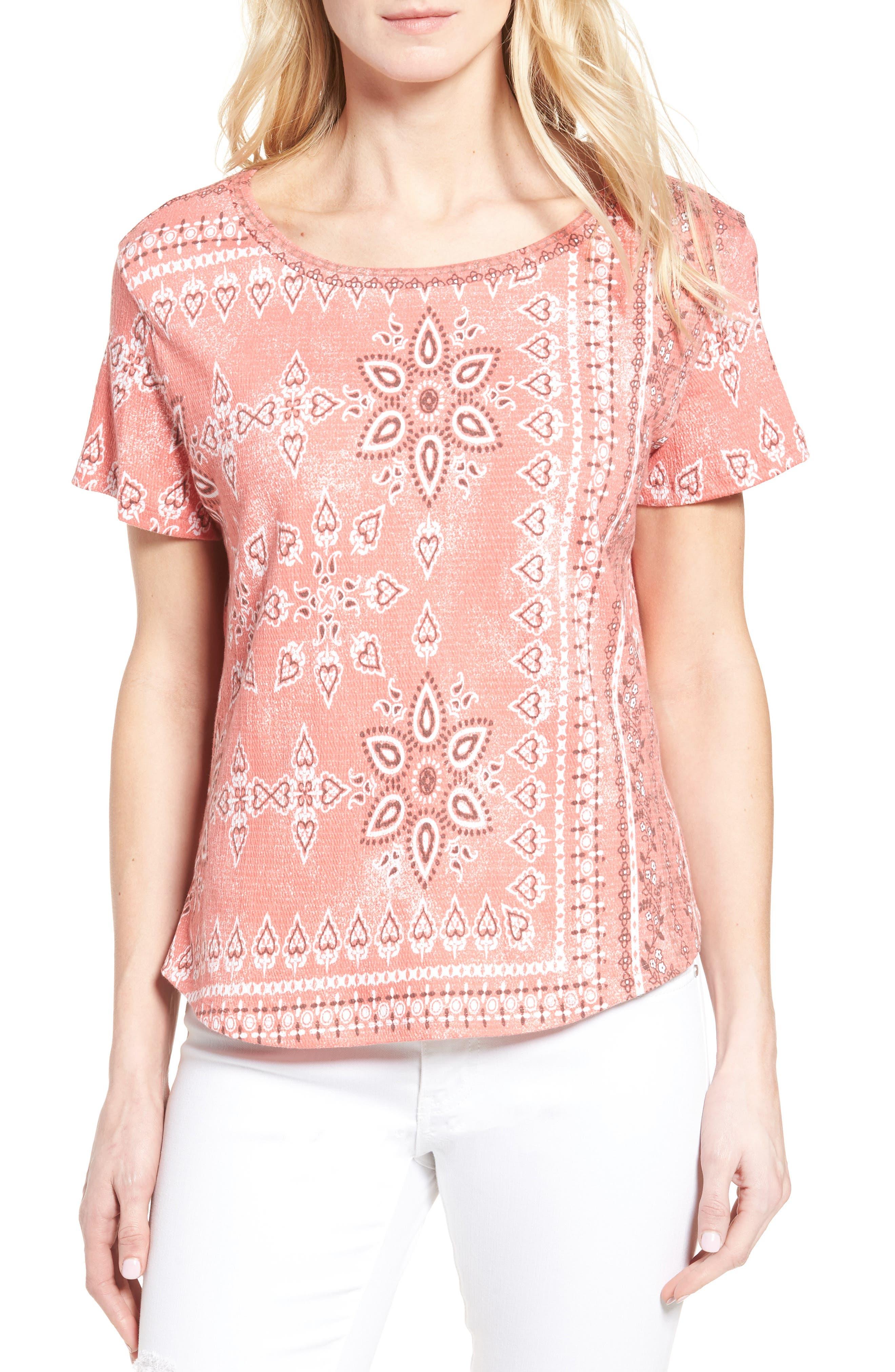 Main Image - Caslon® Print Crinkle Cotton Blend Top (Regular & Petite)