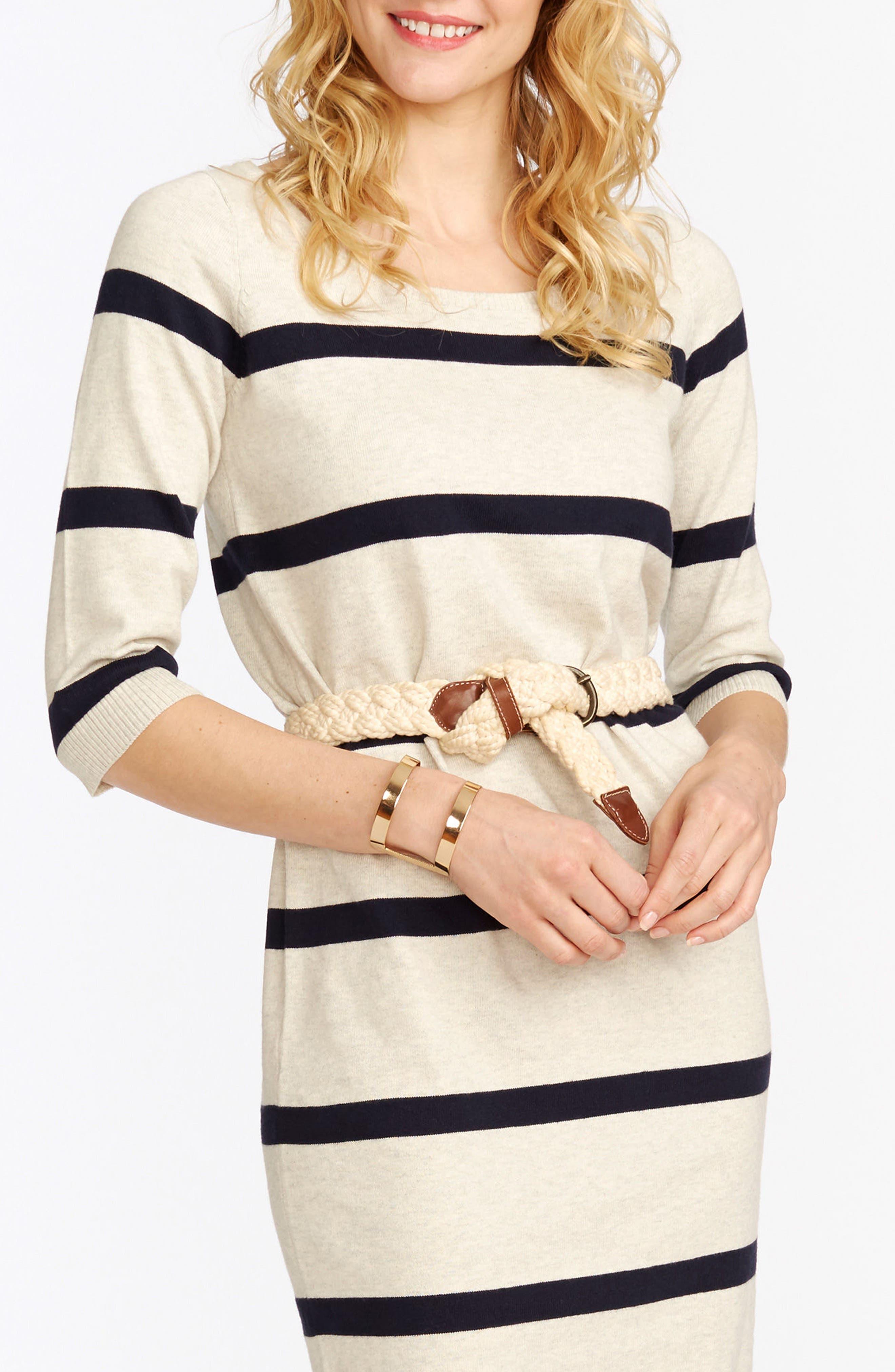 'Harper' Stripe Maternity Sweater Dress,                             Alternate thumbnail 3, color,                             Ivory Heather/ Navy
