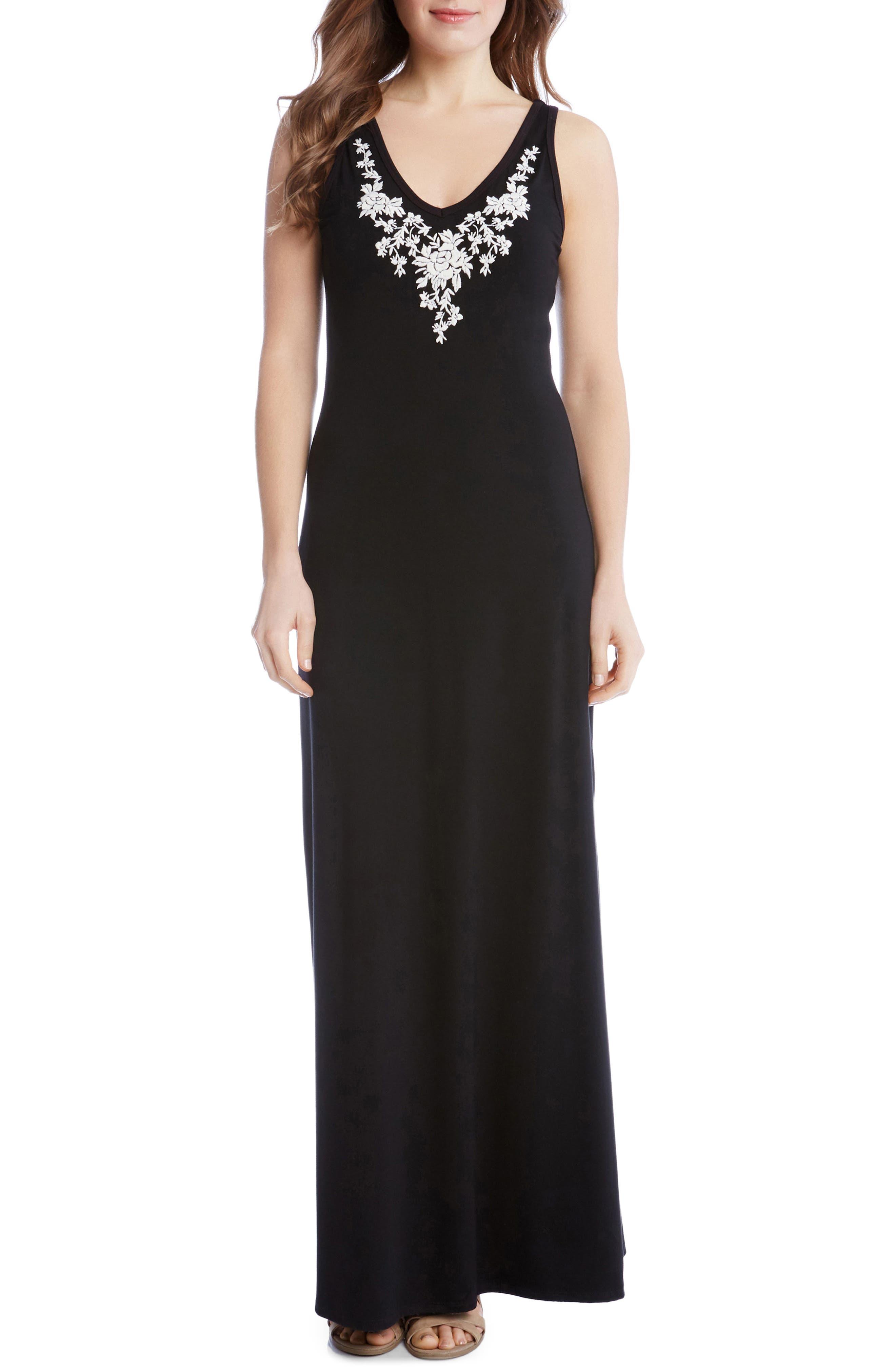 Alternate Image 1 Selected - Karen Kane Alana Embroidered Maxi Dress (Regular & Petite)