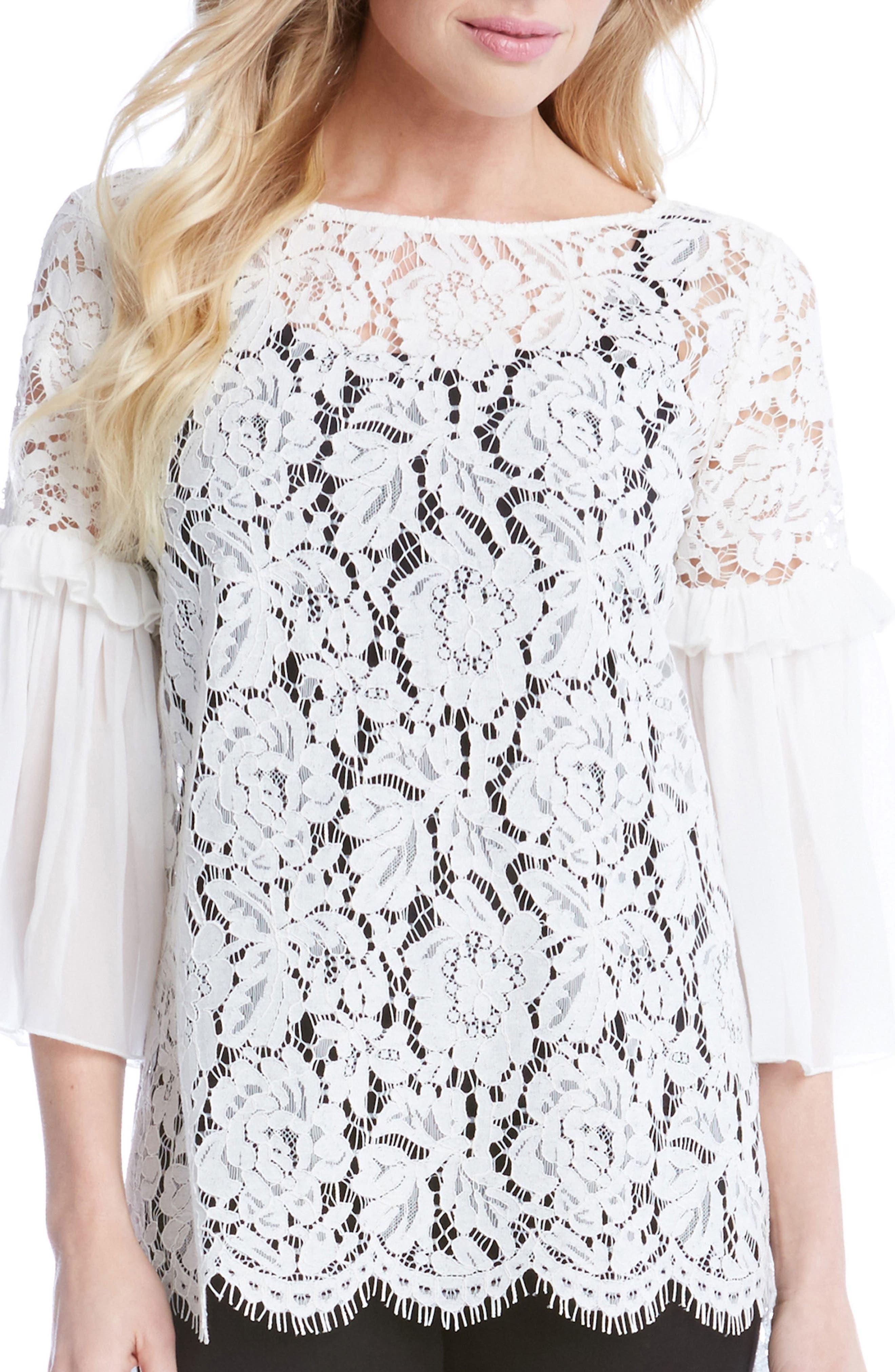 Main Image - Karen Kane Ruffle Sleeve Lace Top