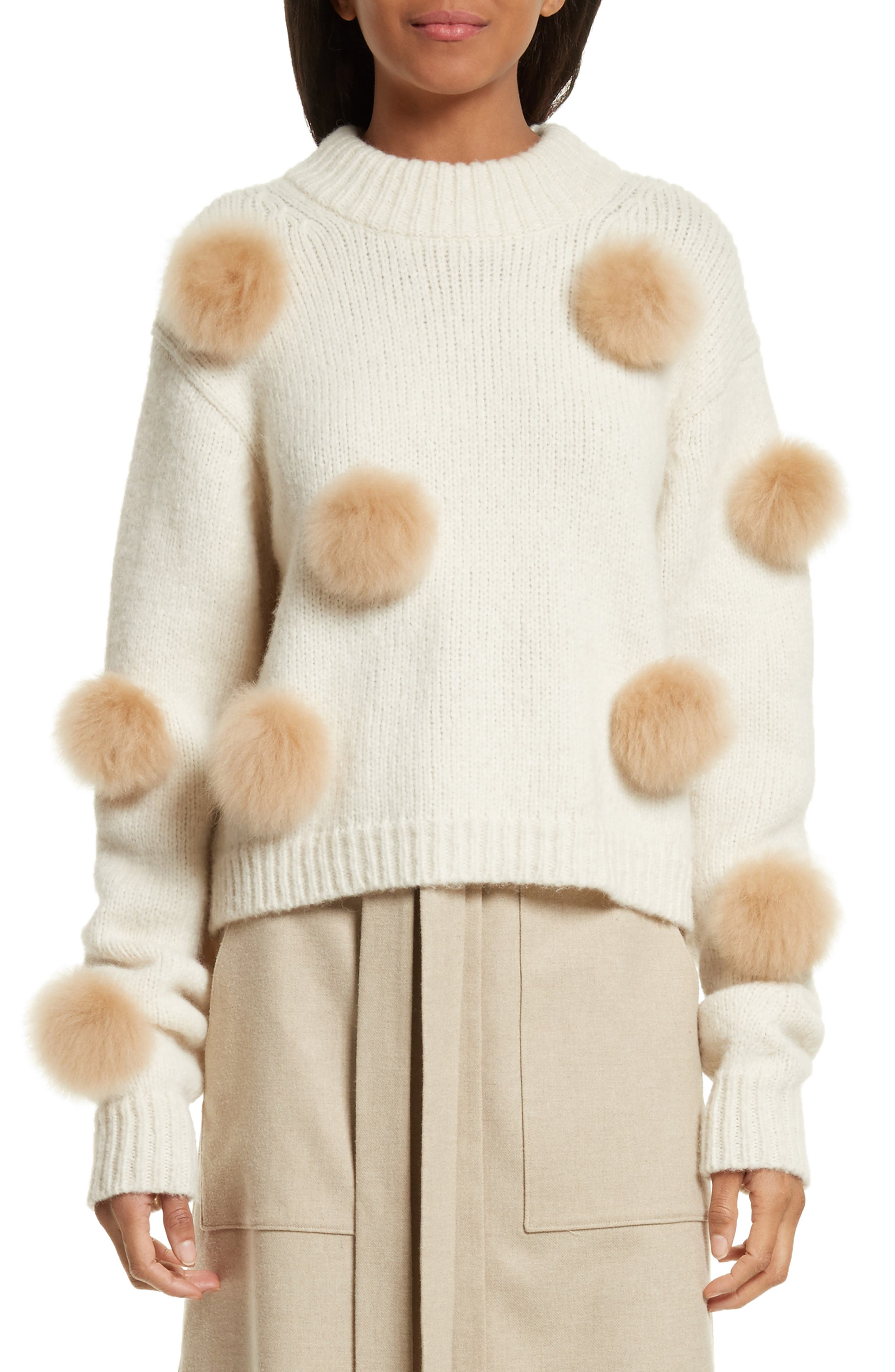 Tibi Genuine Alpaca Fur Trim Pompom Sweater