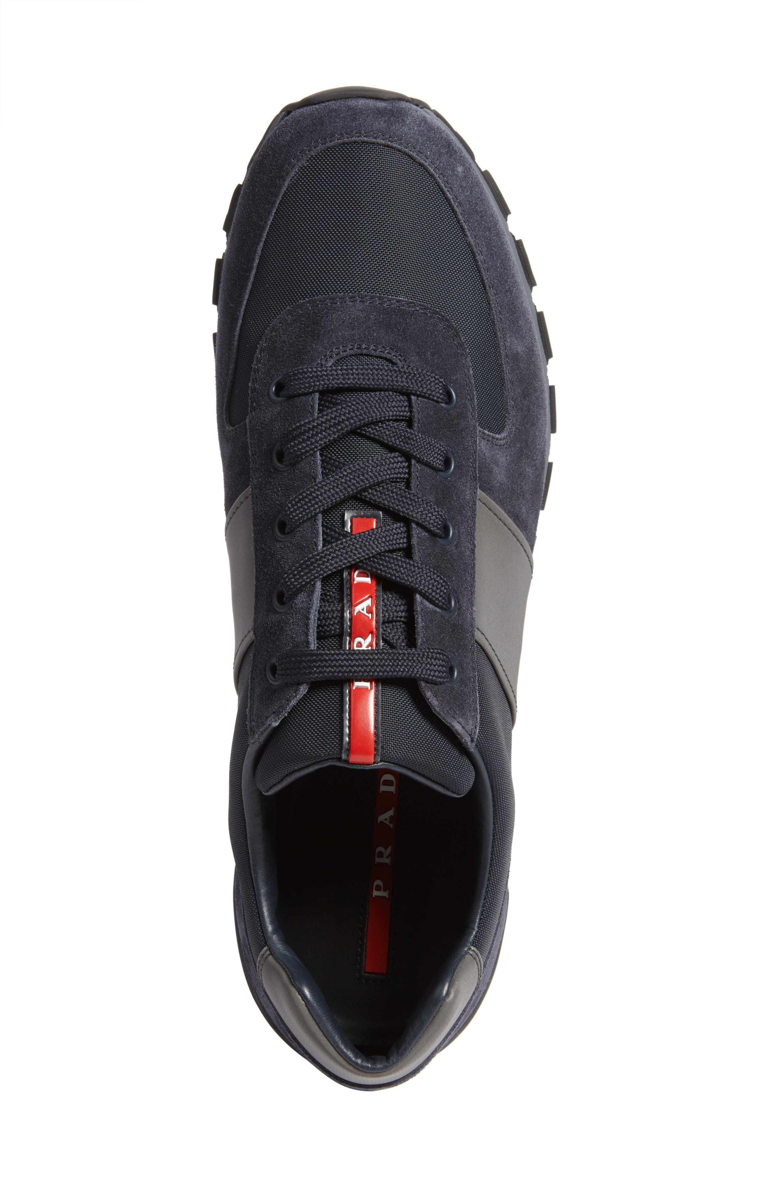 Prada Sneaker,                             Alternate thumbnail 5, color,                             Bleu Suede