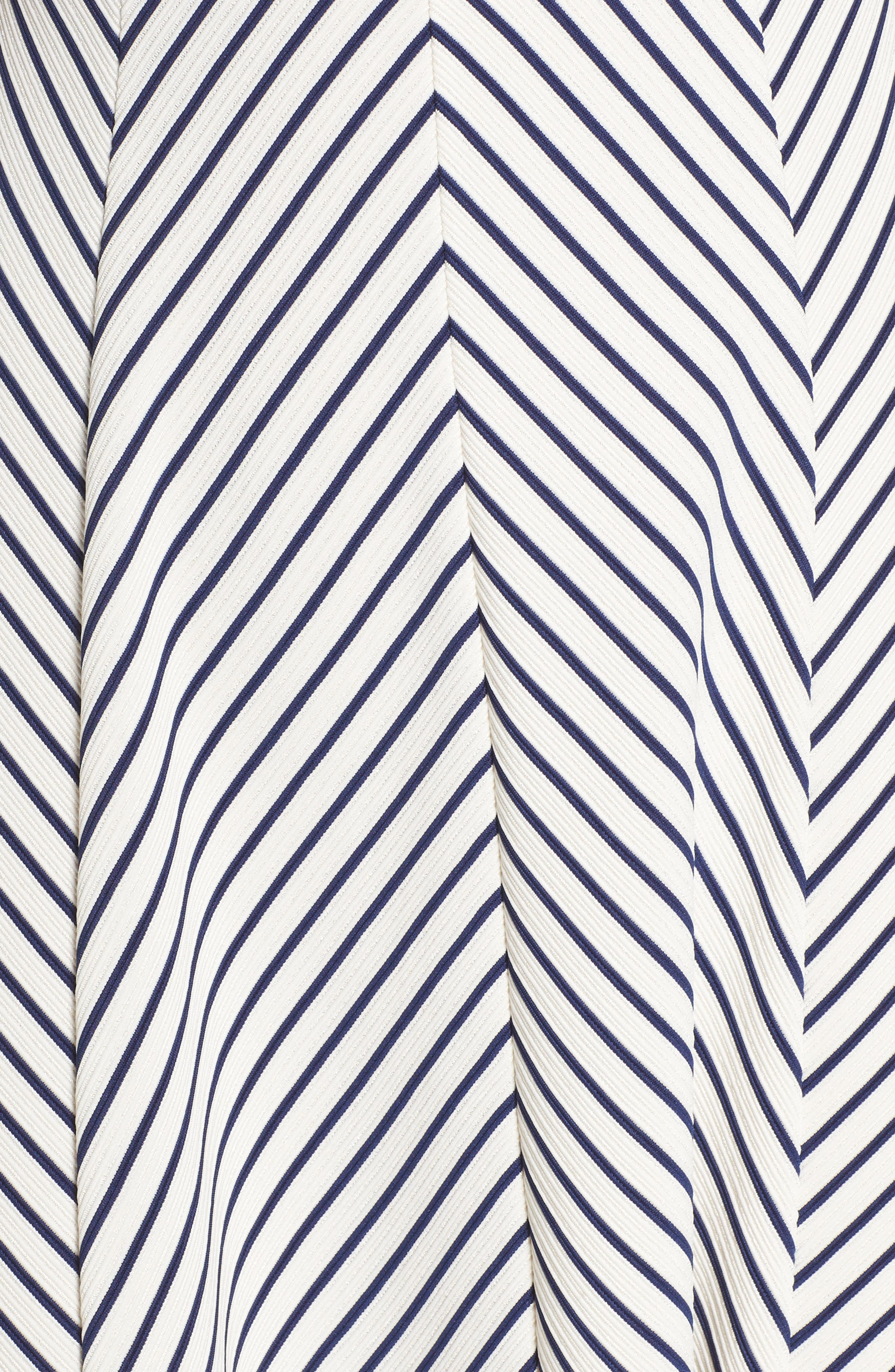 Stripe Fit & Flare Dress,                             Alternate thumbnail 5, color,                             White/ Blue Moon
