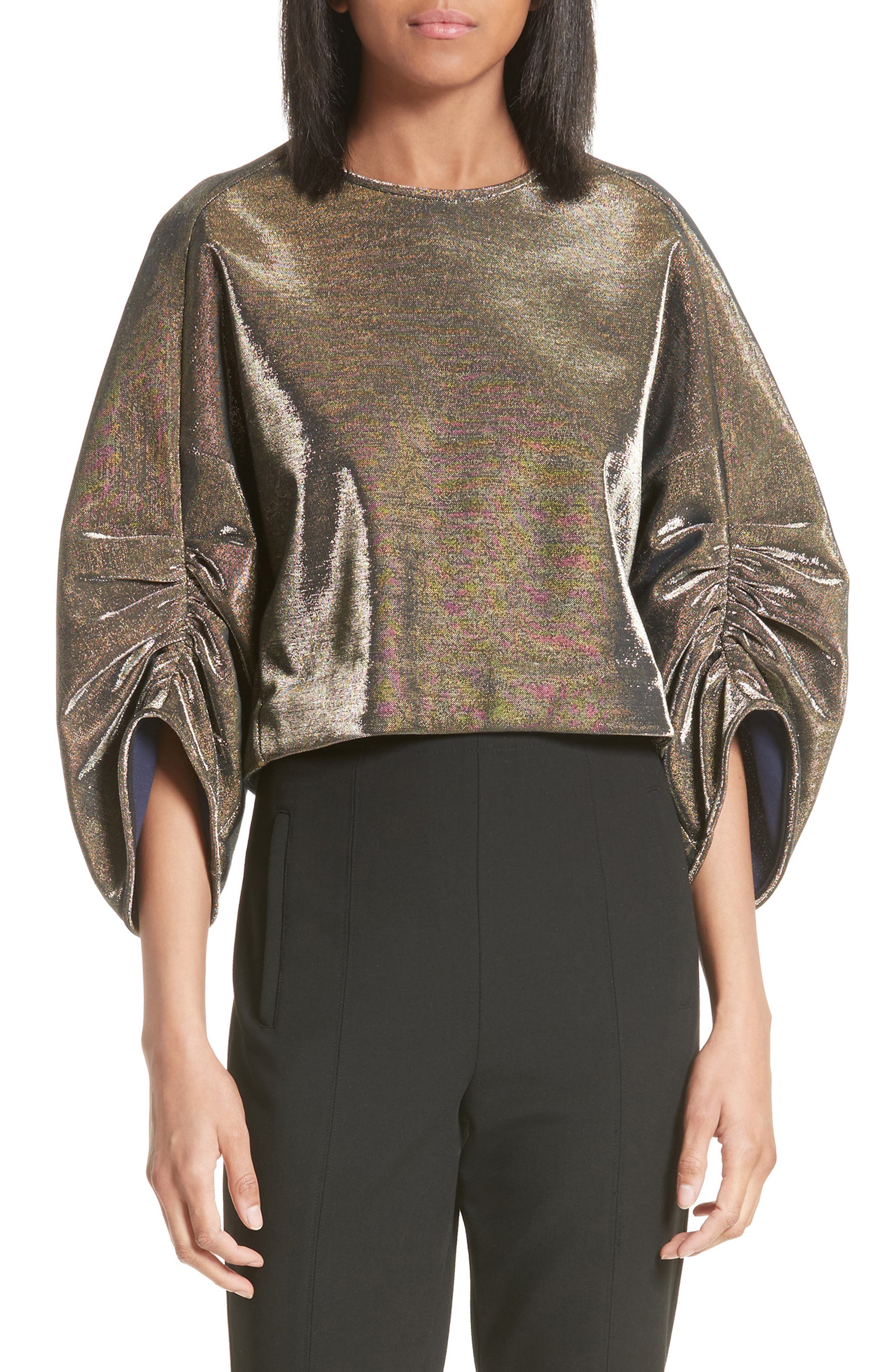 Ruched Sleeve Metallic Top,                         Main,                         color, Gold