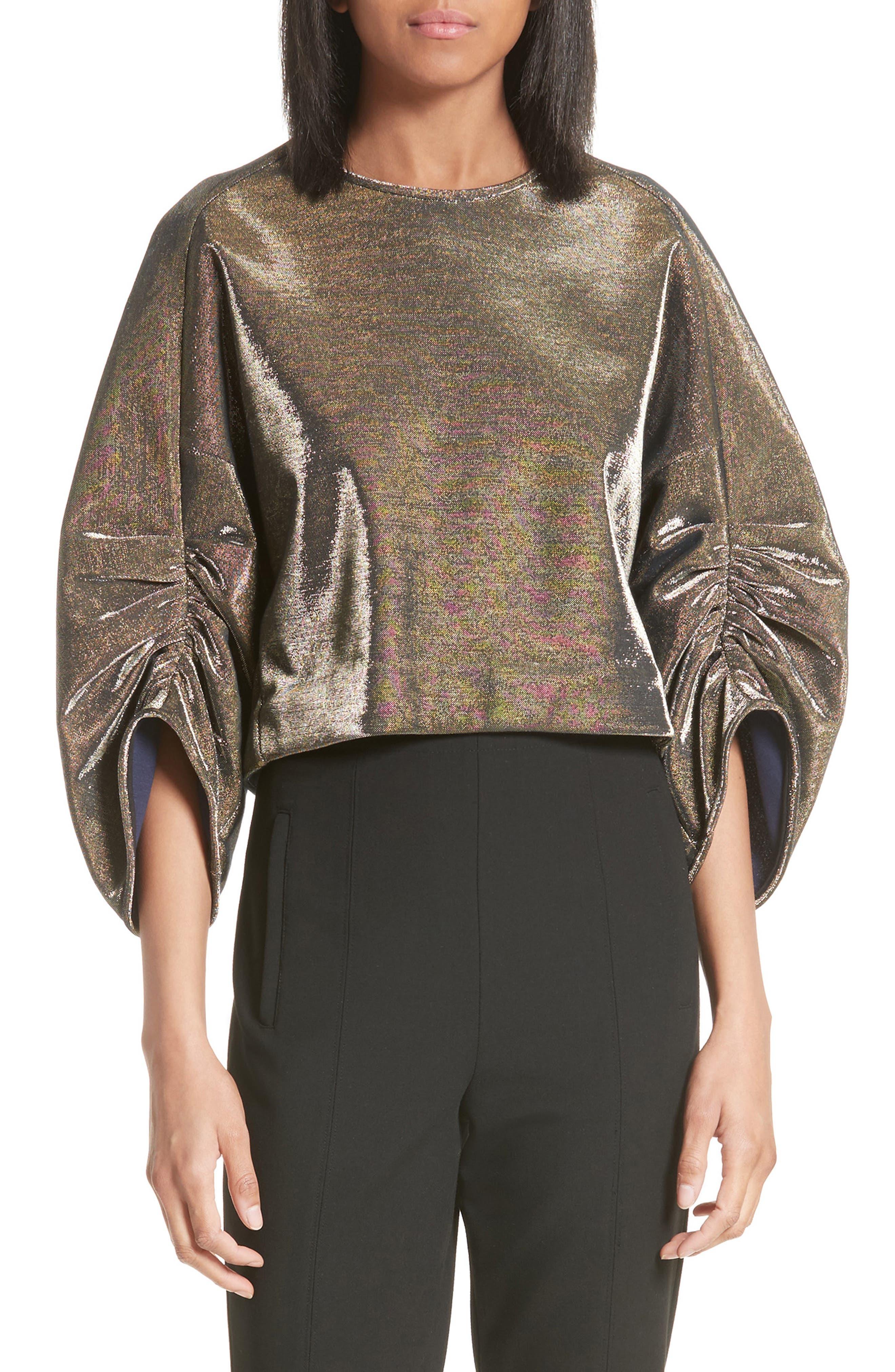 Tibi Ruched Sleeve Metallic Top