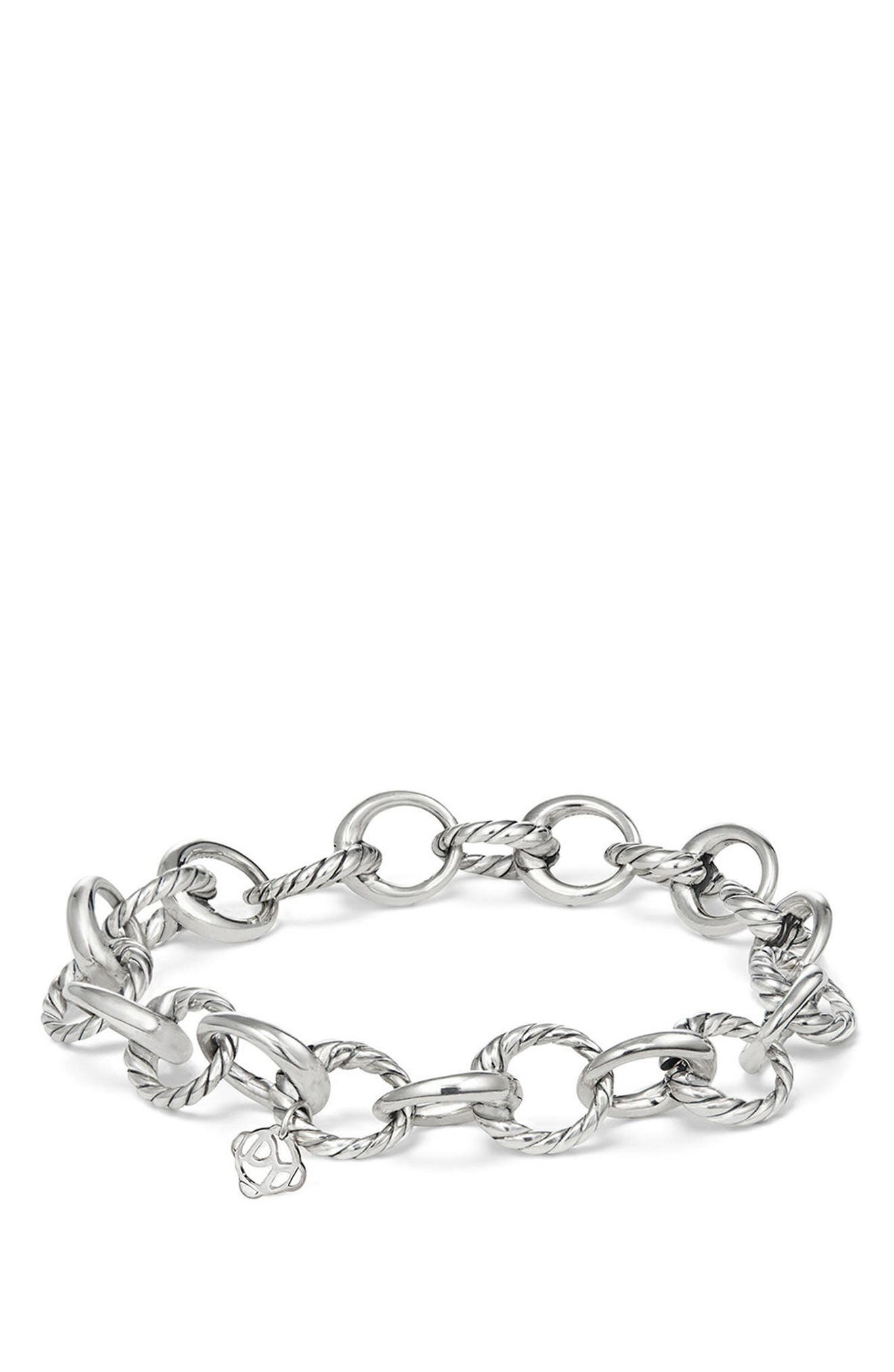 Cable Collectives Oval Link Charm Bracelet,                             Main thumbnail 1, color,                             Silver