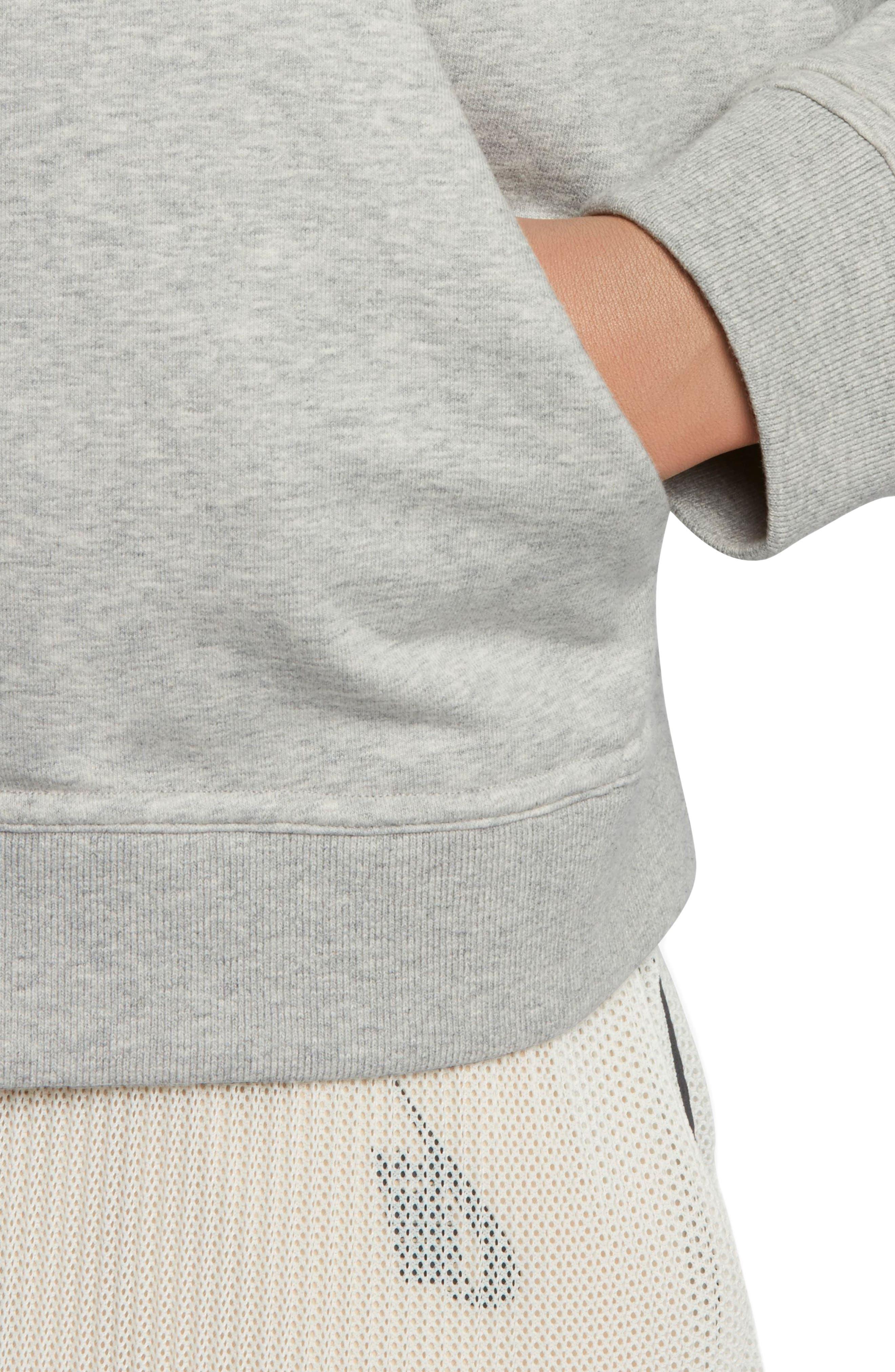 Lab Essentials Crop Hoodie,                             Alternate thumbnail 5, color,                             Grey Heather/ Pale Grey/ Black