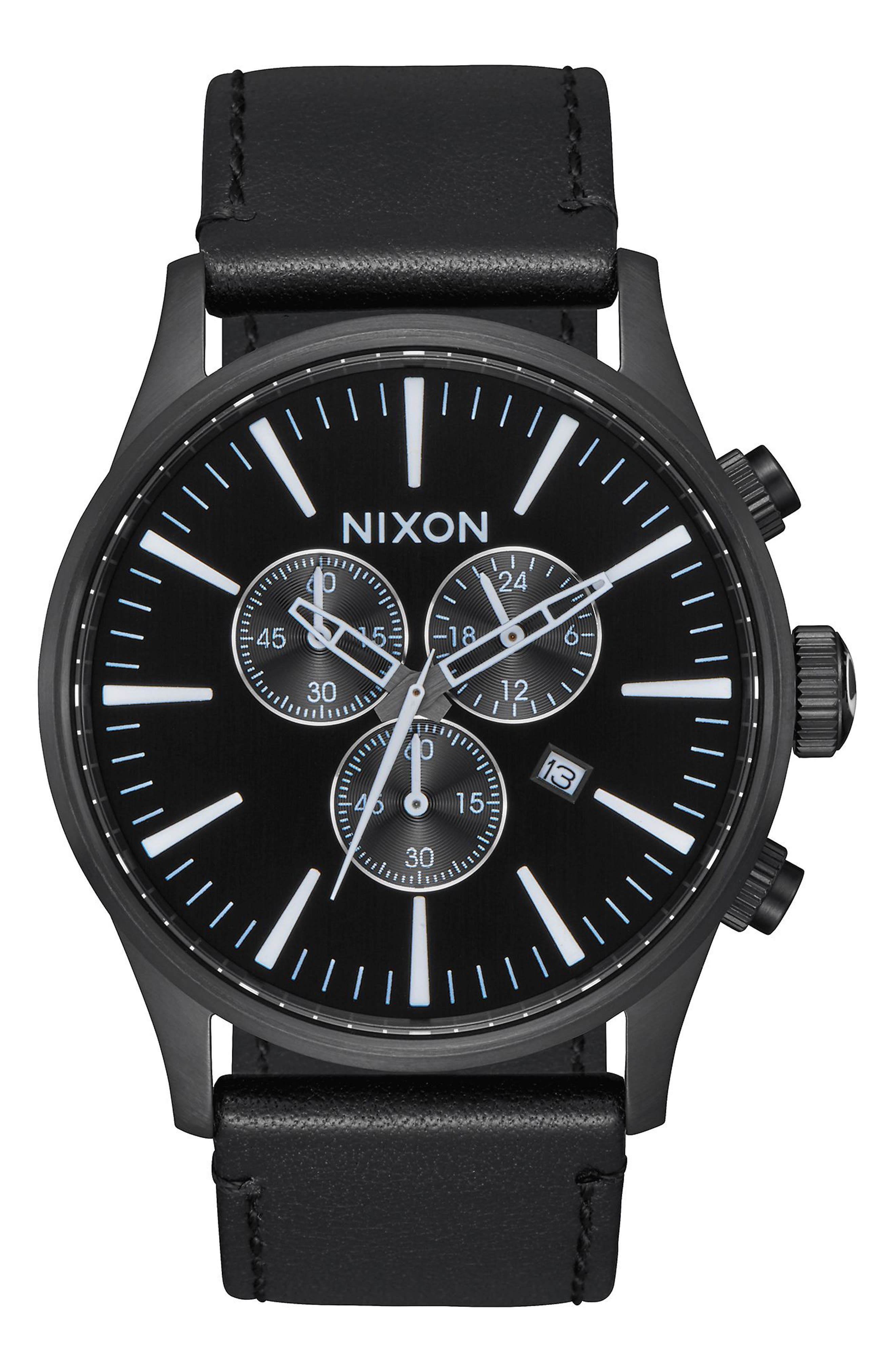 The Sentry Chronograph Leather Strap Watch, 42mm,                         Main,                         color, Black