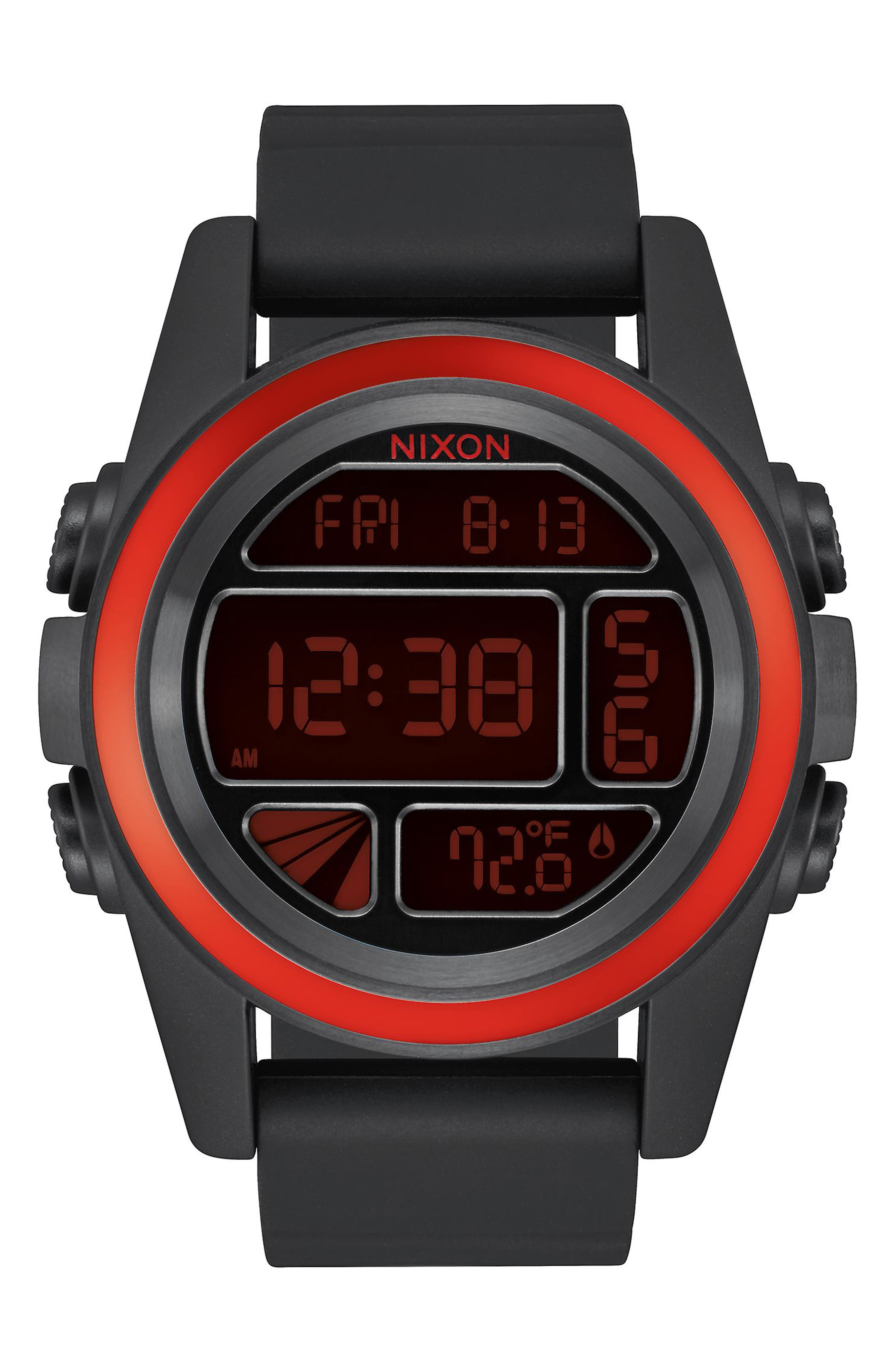 The Unit Digital Silicone Strap Watch, 44mm,                         Main,                         color, Black / Red / Black