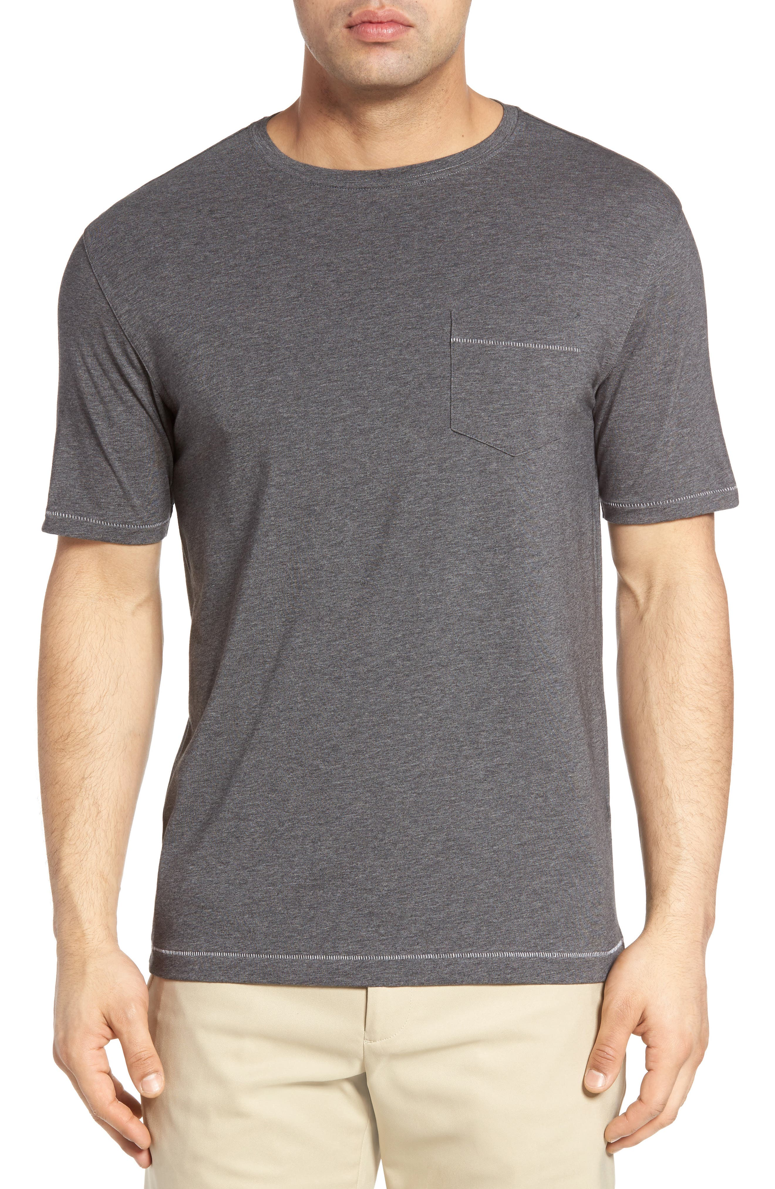R18 Pocket T-Shirt,                         Main,                         color, Charcoal Heather
