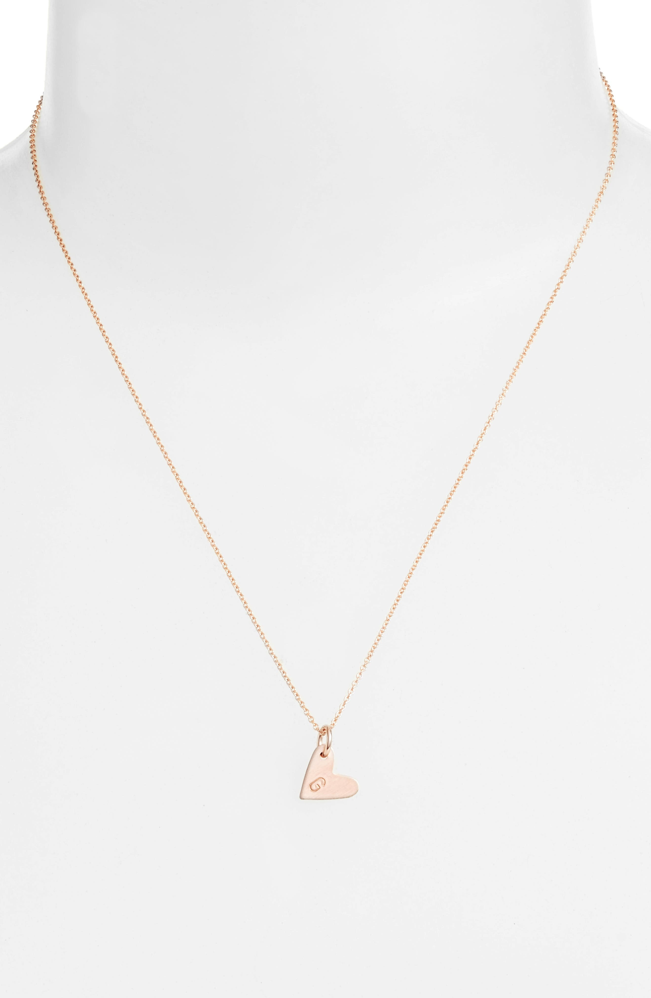 Initial Heart Pendant Necklace,                             Alternate thumbnail 2, color,                             Rose Gold/ G