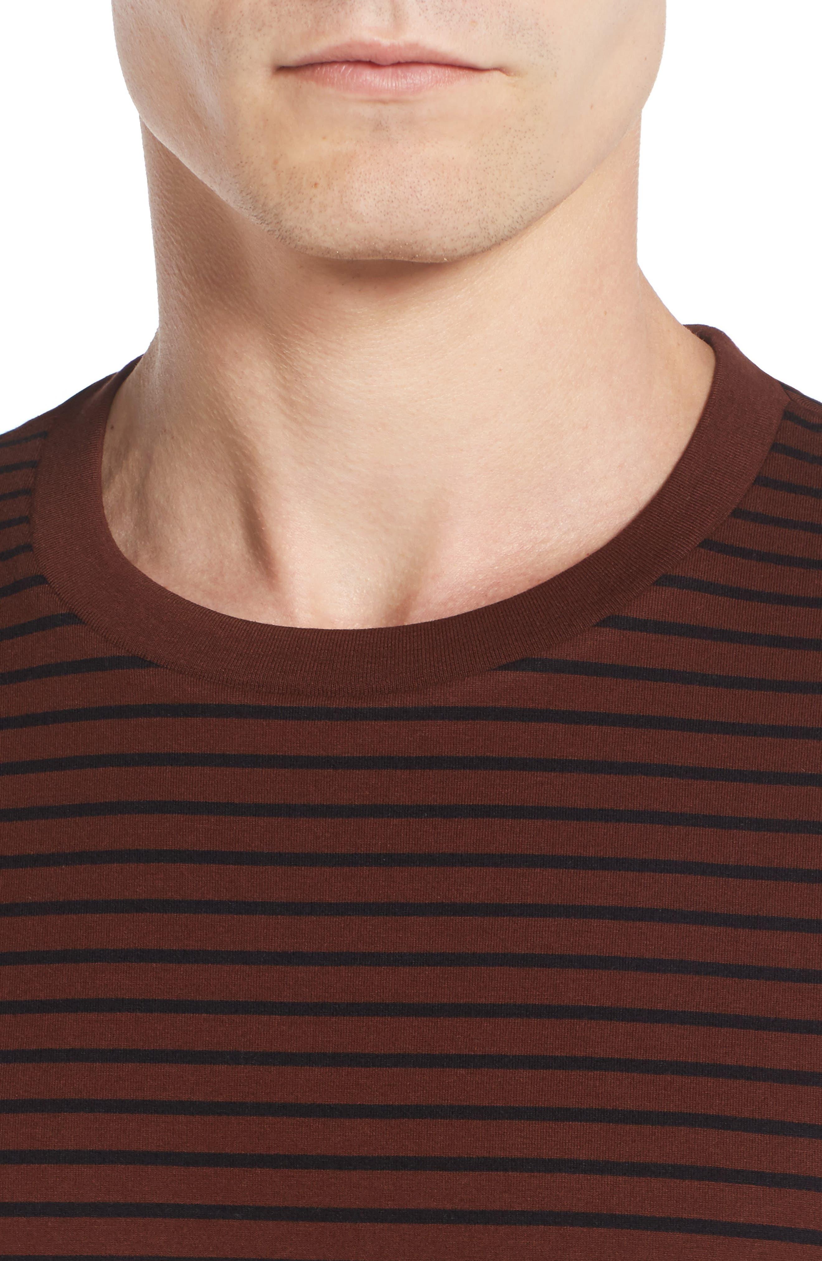Narrow Stripe Pima Cotton T-Shirt,                             Alternate thumbnail 4, color,                             Sienna/ Black