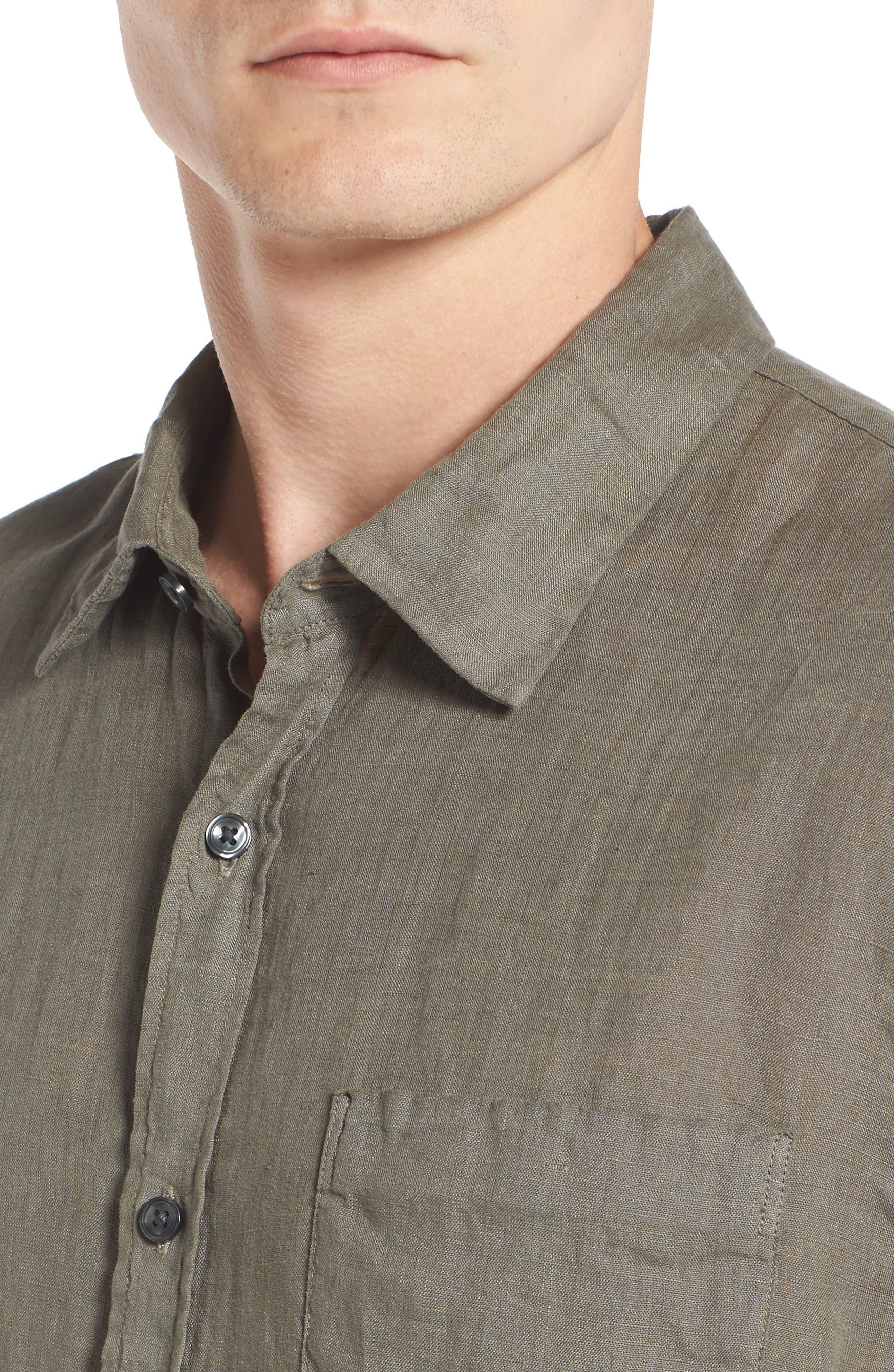 Trim Fit Linen Sport Shirt,                             Alternate thumbnail 4, color,                             Desert Green
