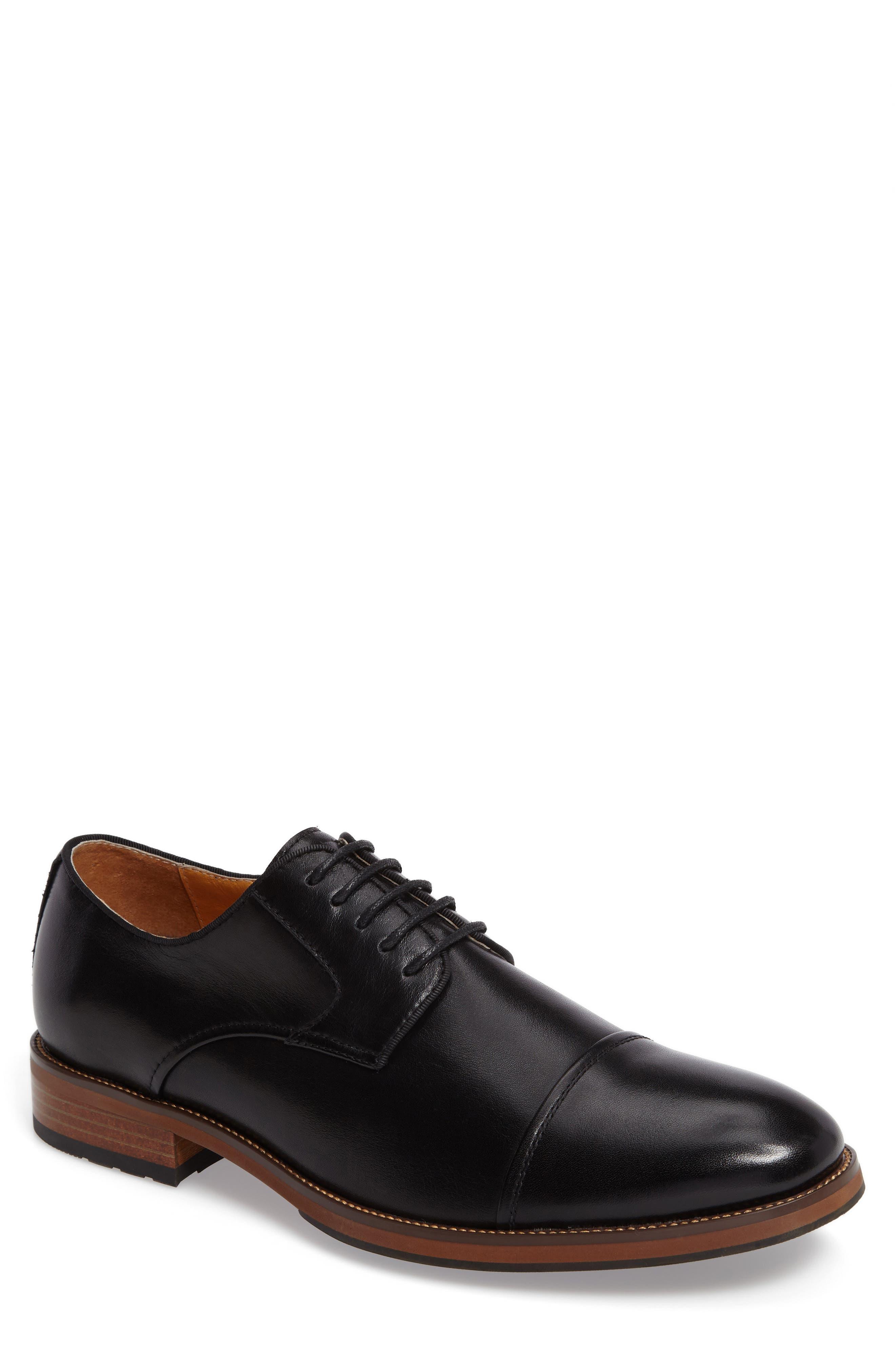 Blaze Cap Toe Derby,                             Main thumbnail 1, color,                             Black Leather
