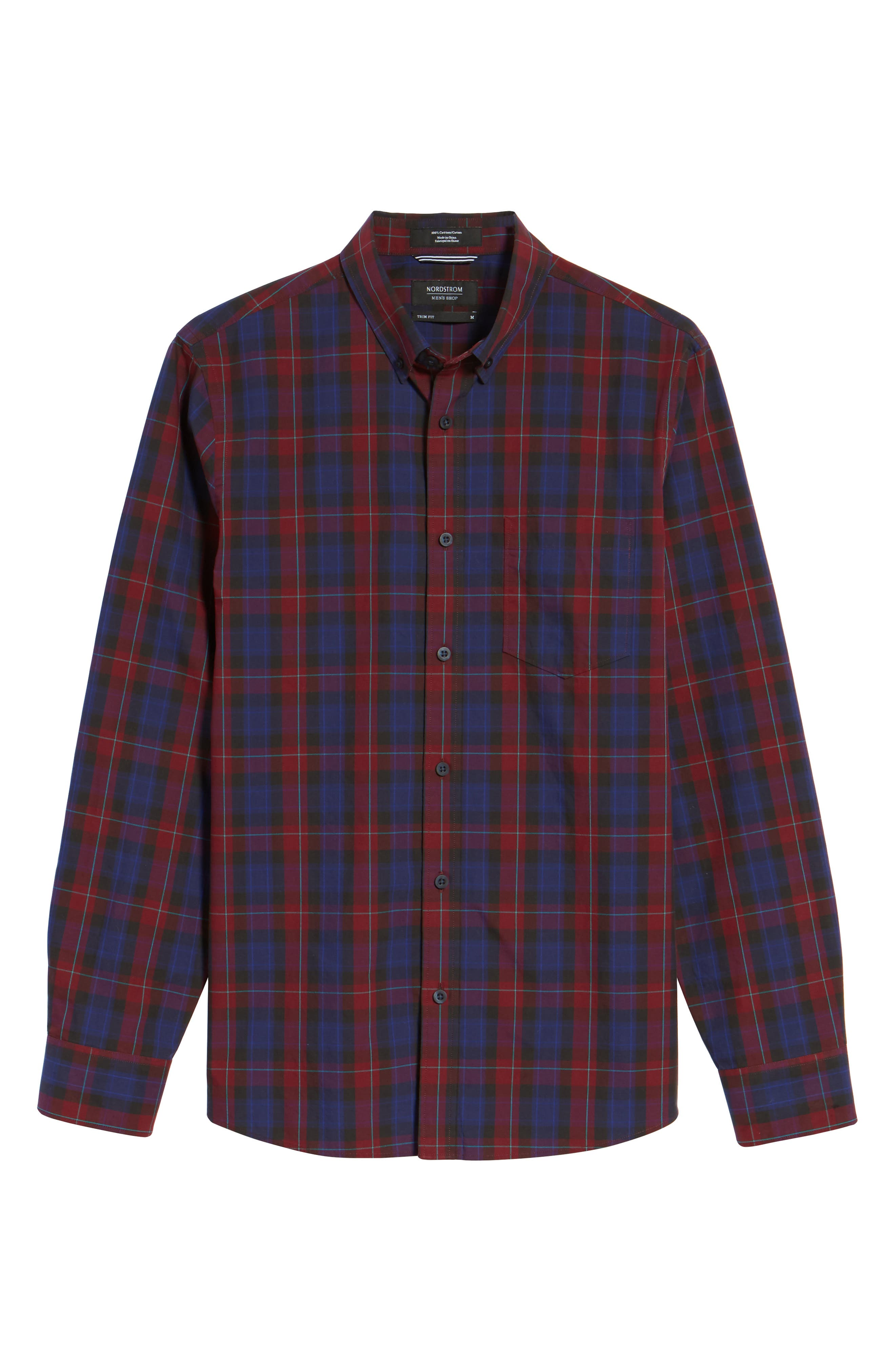 Slim Fit Plaid Sport Shirt,                             Alternate thumbnail 6, color,                             Red Ruby Large Check