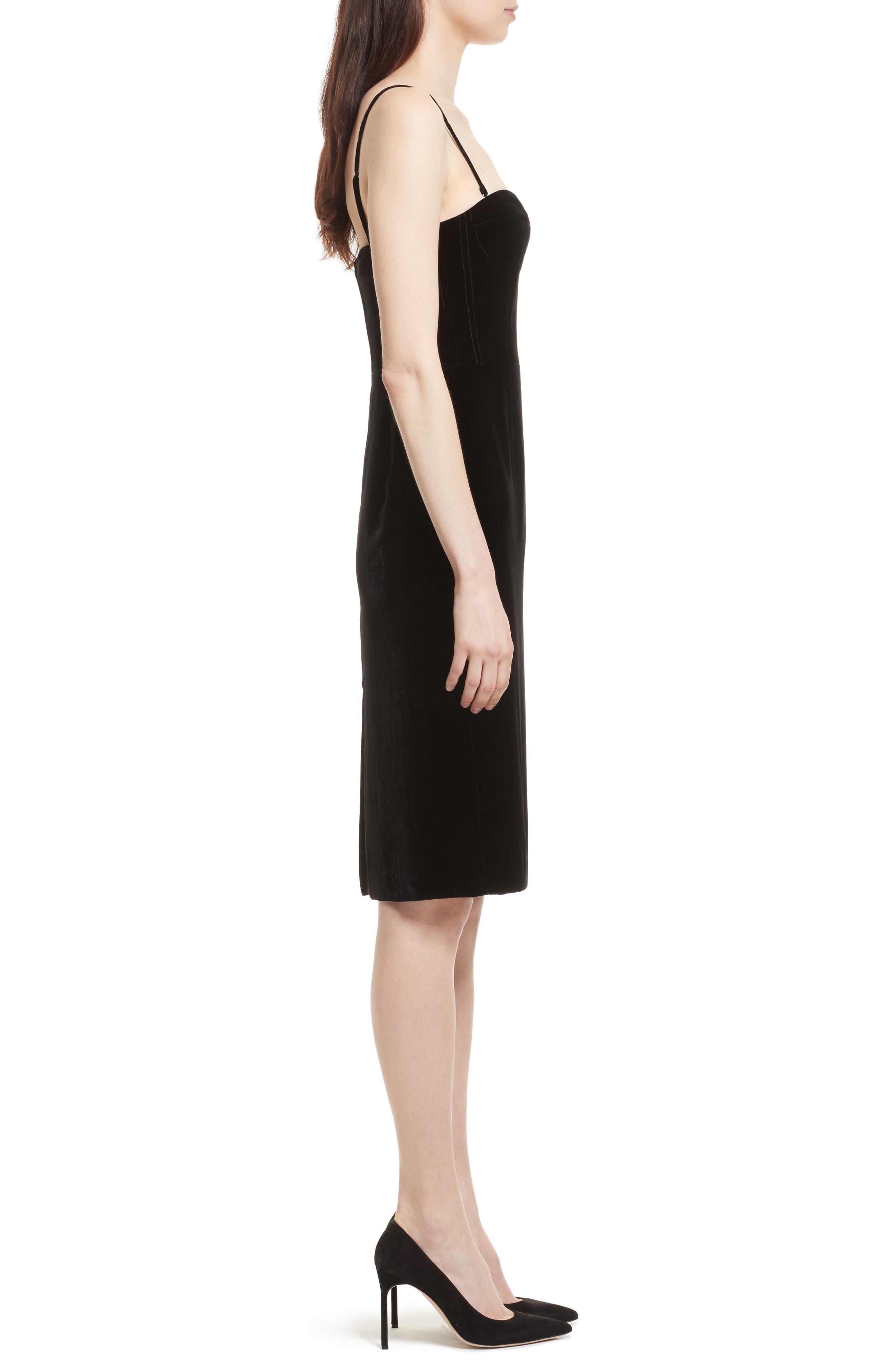 Luxe Velvet Corset Dress,                             Alternate thumbnail 3, color,                             Black