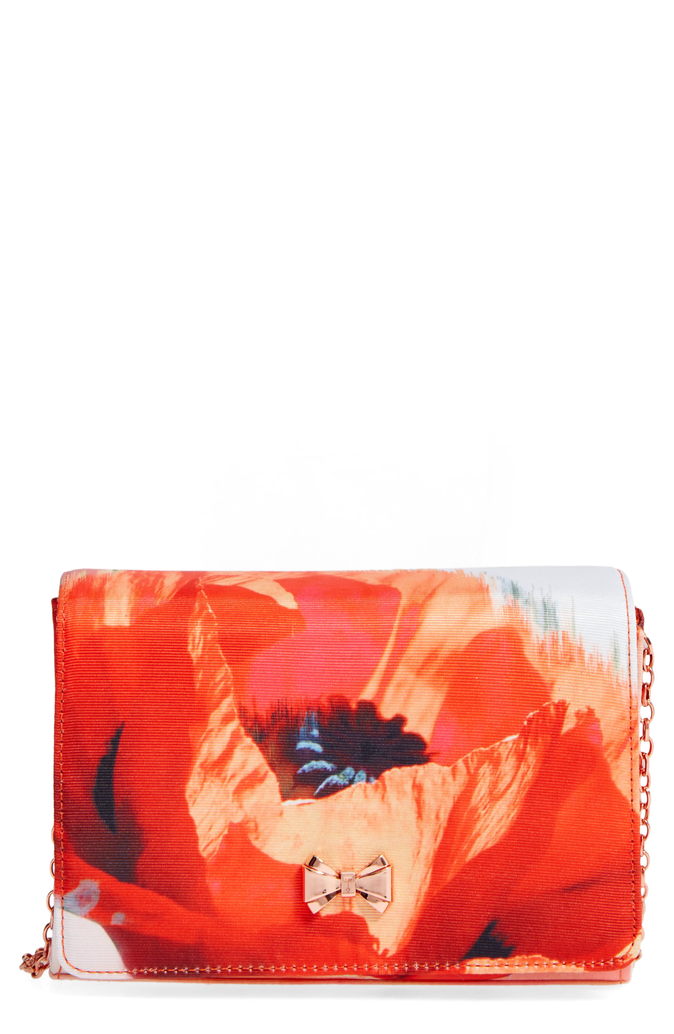 Playful Poppy Bow Clutch,                             Main thumbnail 1, color,                             Mid Red