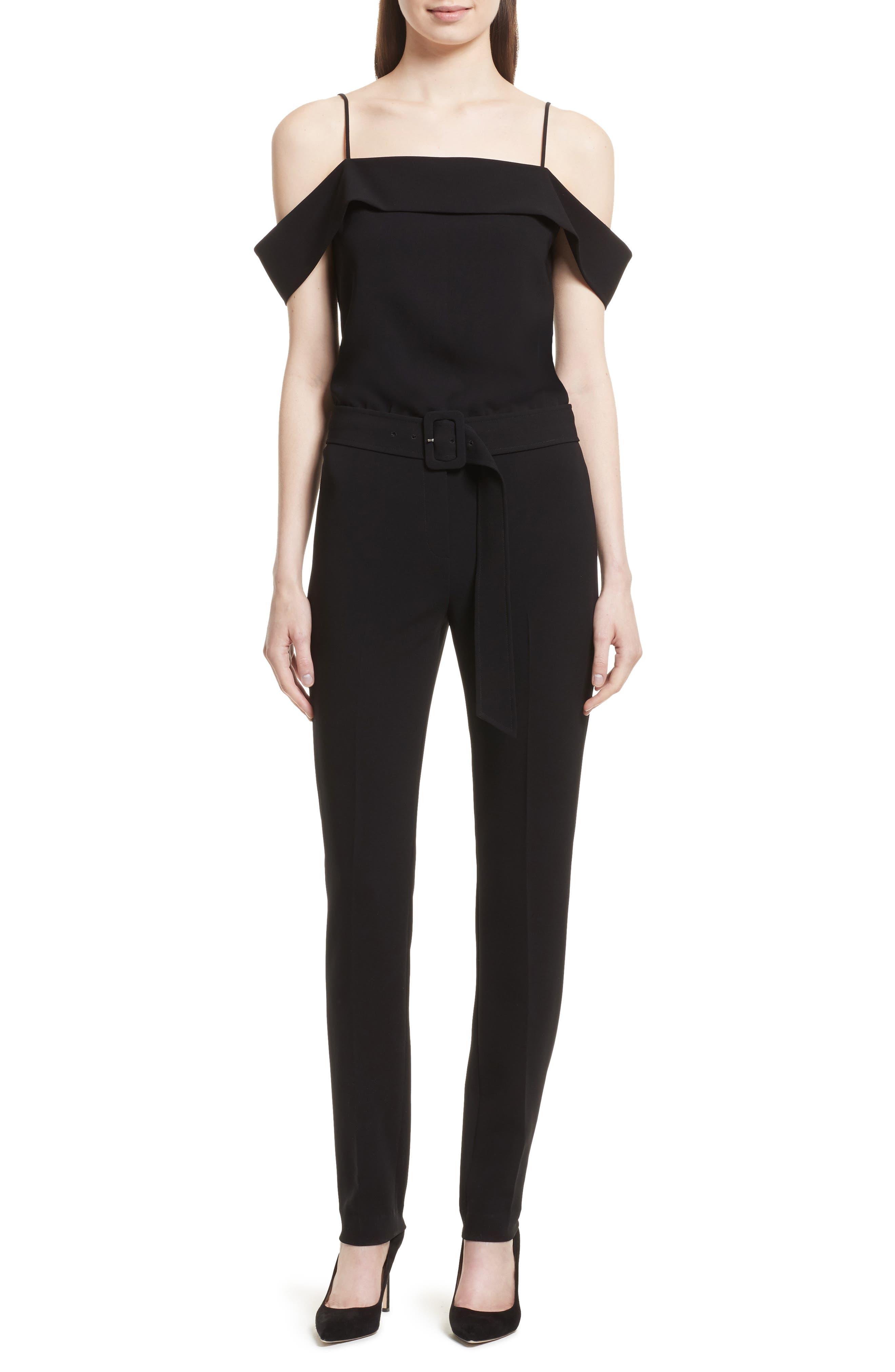 Off the Shoulder Admiral Crepe Jumpsuit,                         Main,                         color, Black