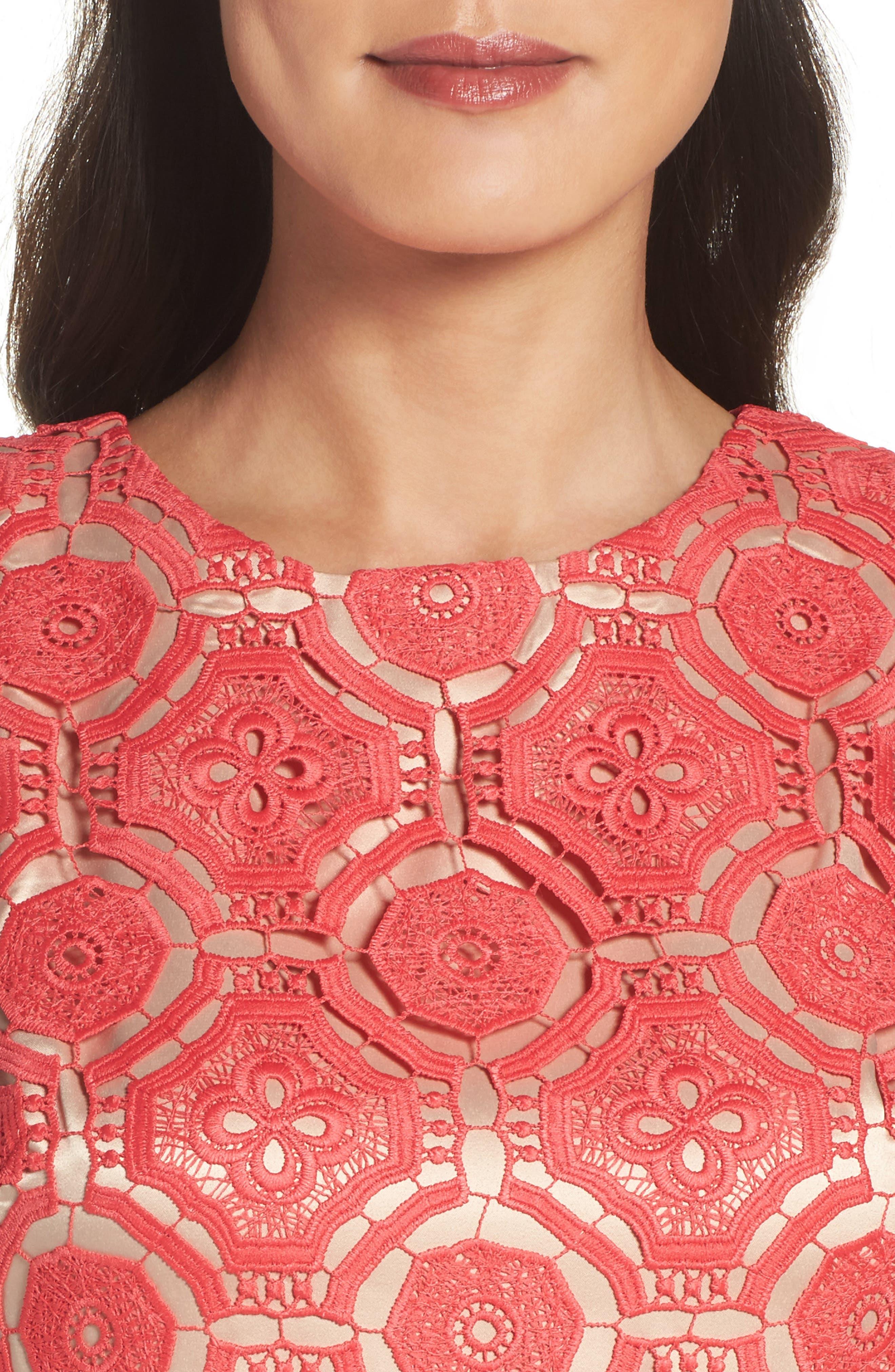 Lace Shift Dress,                             Alternate thumbnail 4, color,                             Poppy
