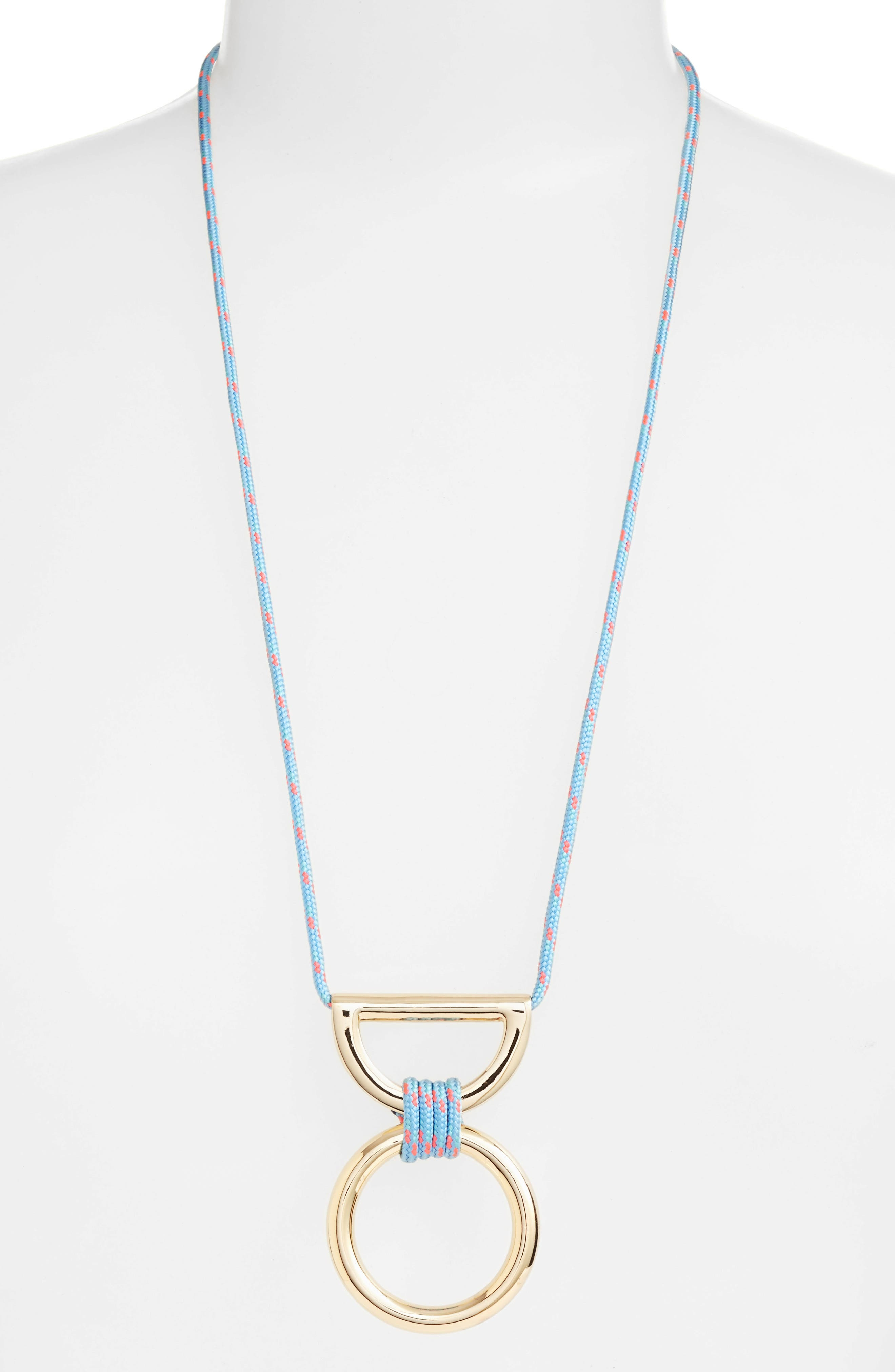 Climbing Rope Pendant Necklace,                         Main,                         color, Turquoise / Gold