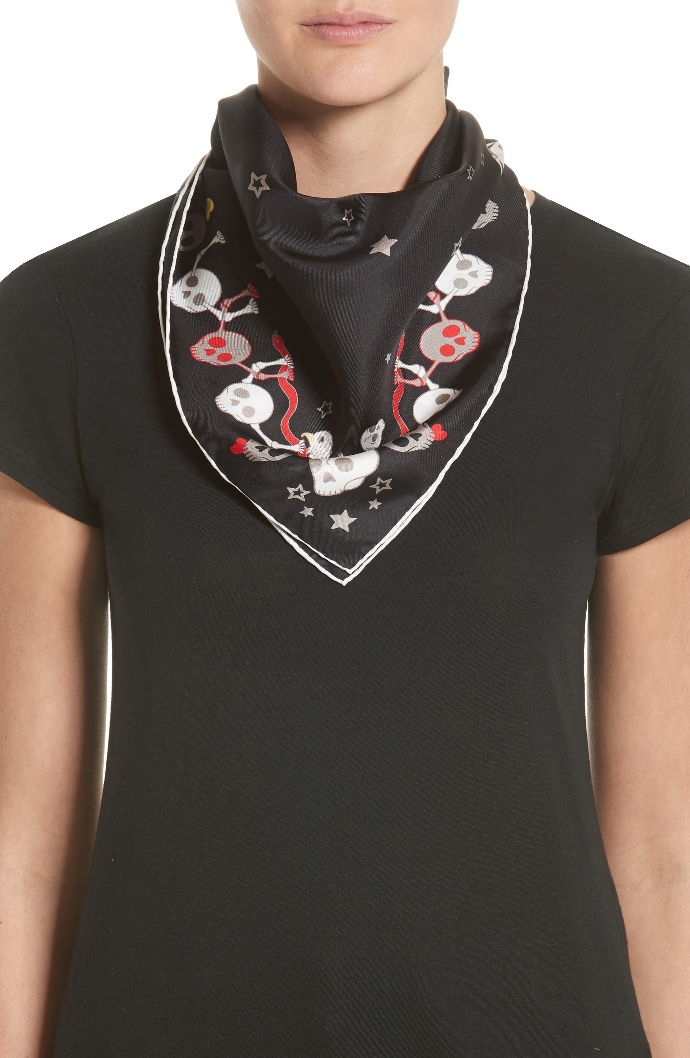 Party Skull Silk Square Scarf,                         Main,                         color, Black/ Light Grey