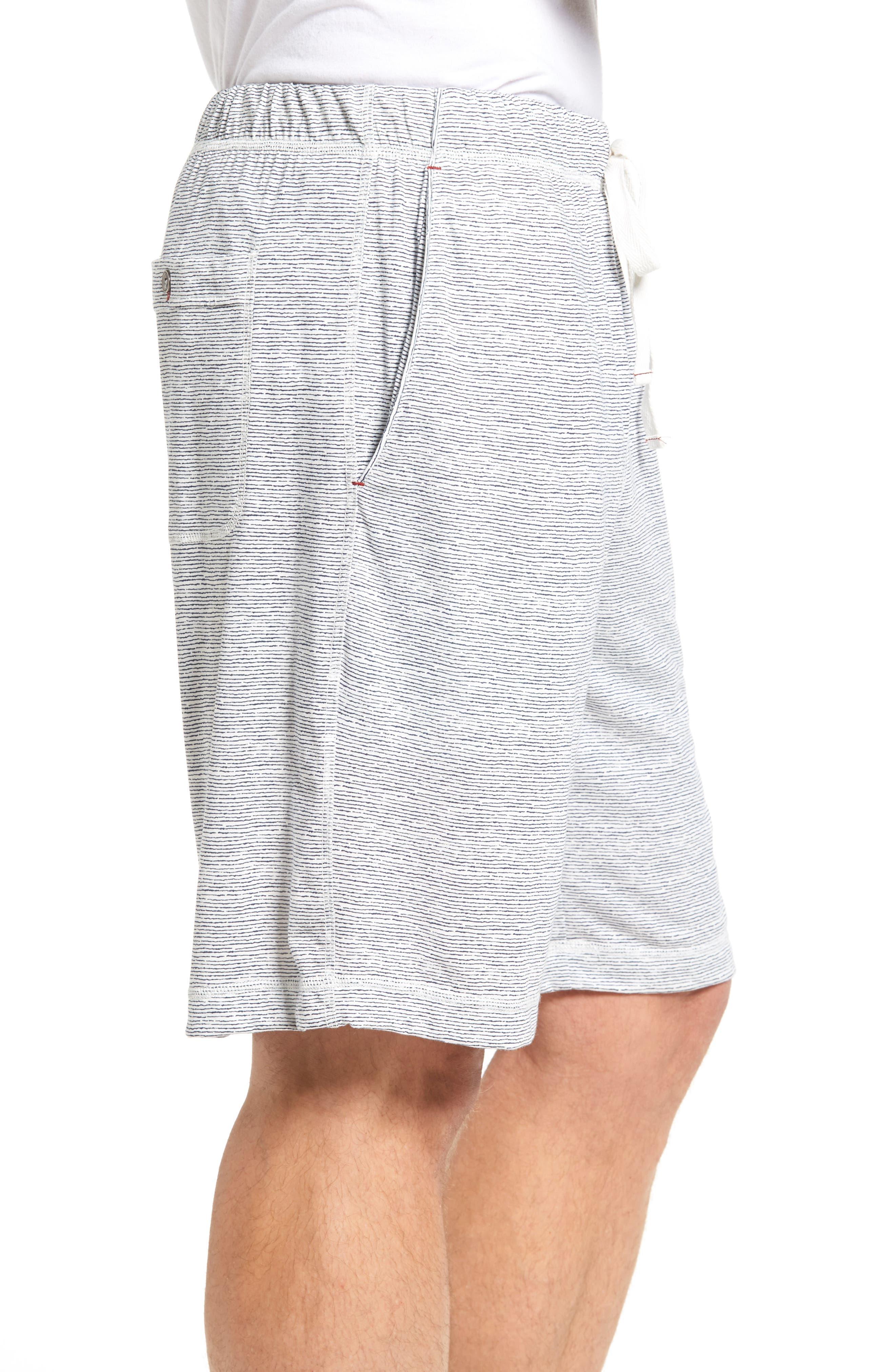 Feeder Stripe Pima Cotton & Modal Lounge Shorts,                             Alternate thumbnail 3, color,                             Blue
