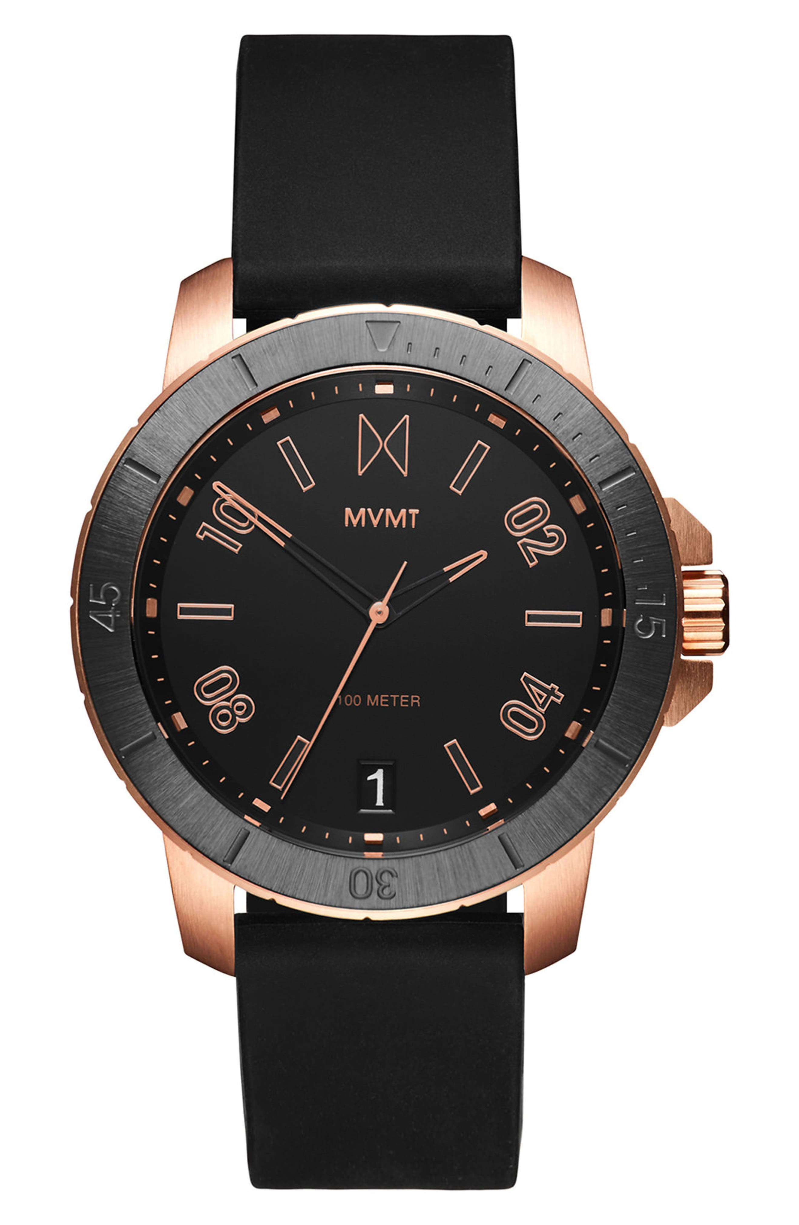 Modern Sport Silicone Strap Watch, 42mm,                         Main,                         color, Black/ Black