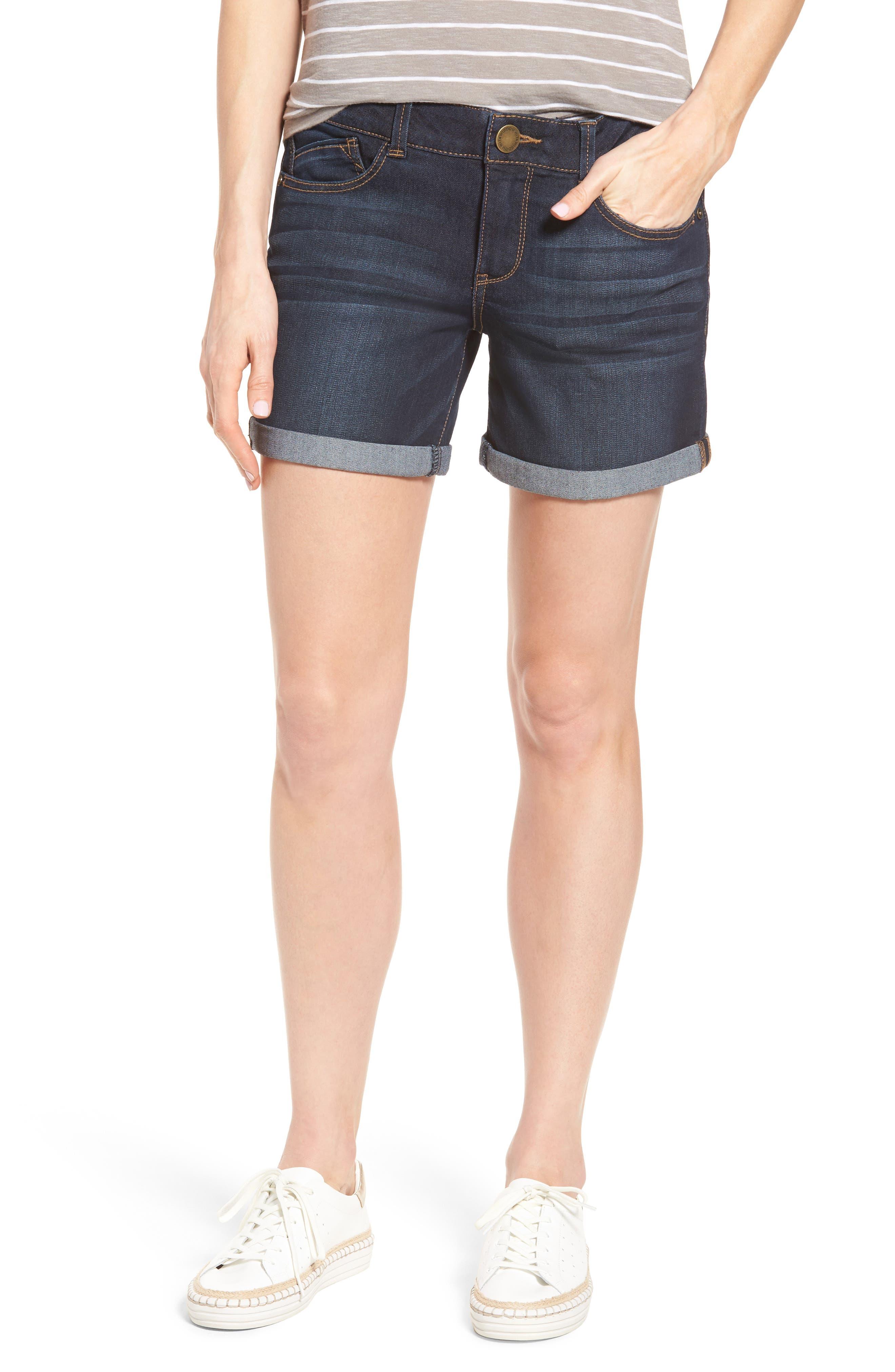 Ab-solution Cuffed Denim Shorts,                             Main thumbnail 1, color,                             Indigo