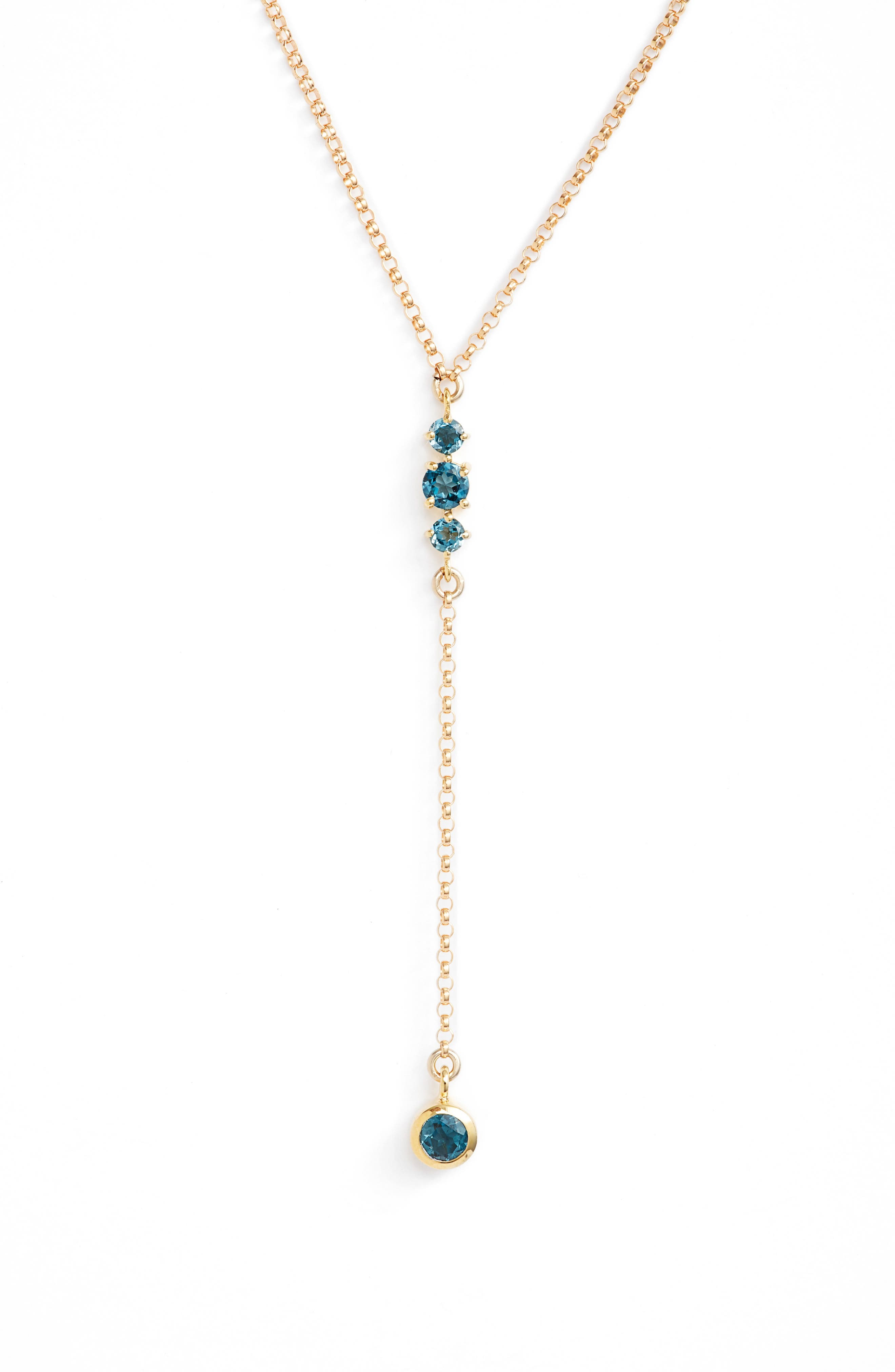 Moonstone & Gold Y-Necklace,                             Main thumbnail 1, color,                             Blue Topaz/ Gold